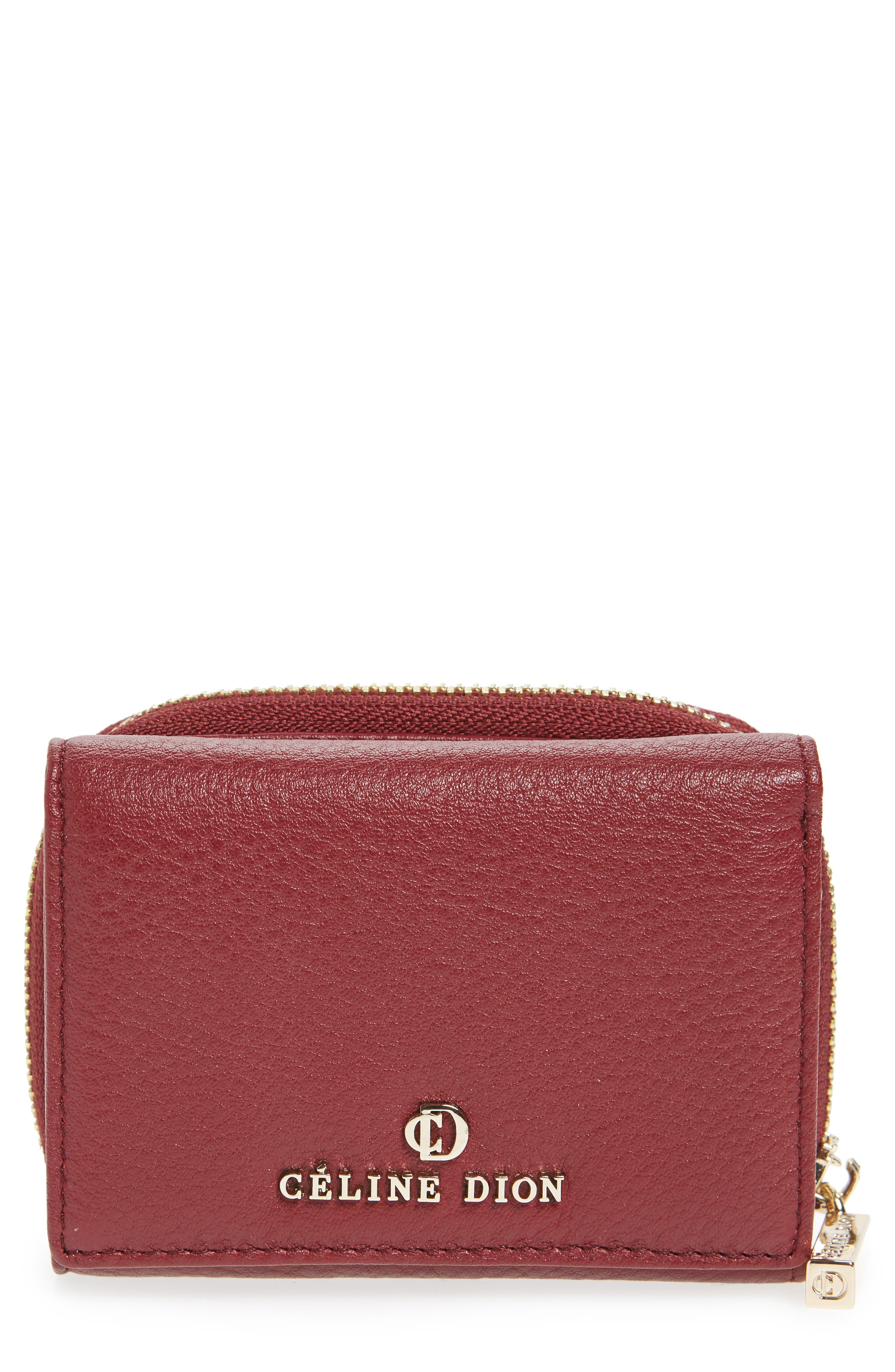 Céline Dion Small Adagio Leather Wallet,                             Main thumbnail 1, color,                             Dark Red