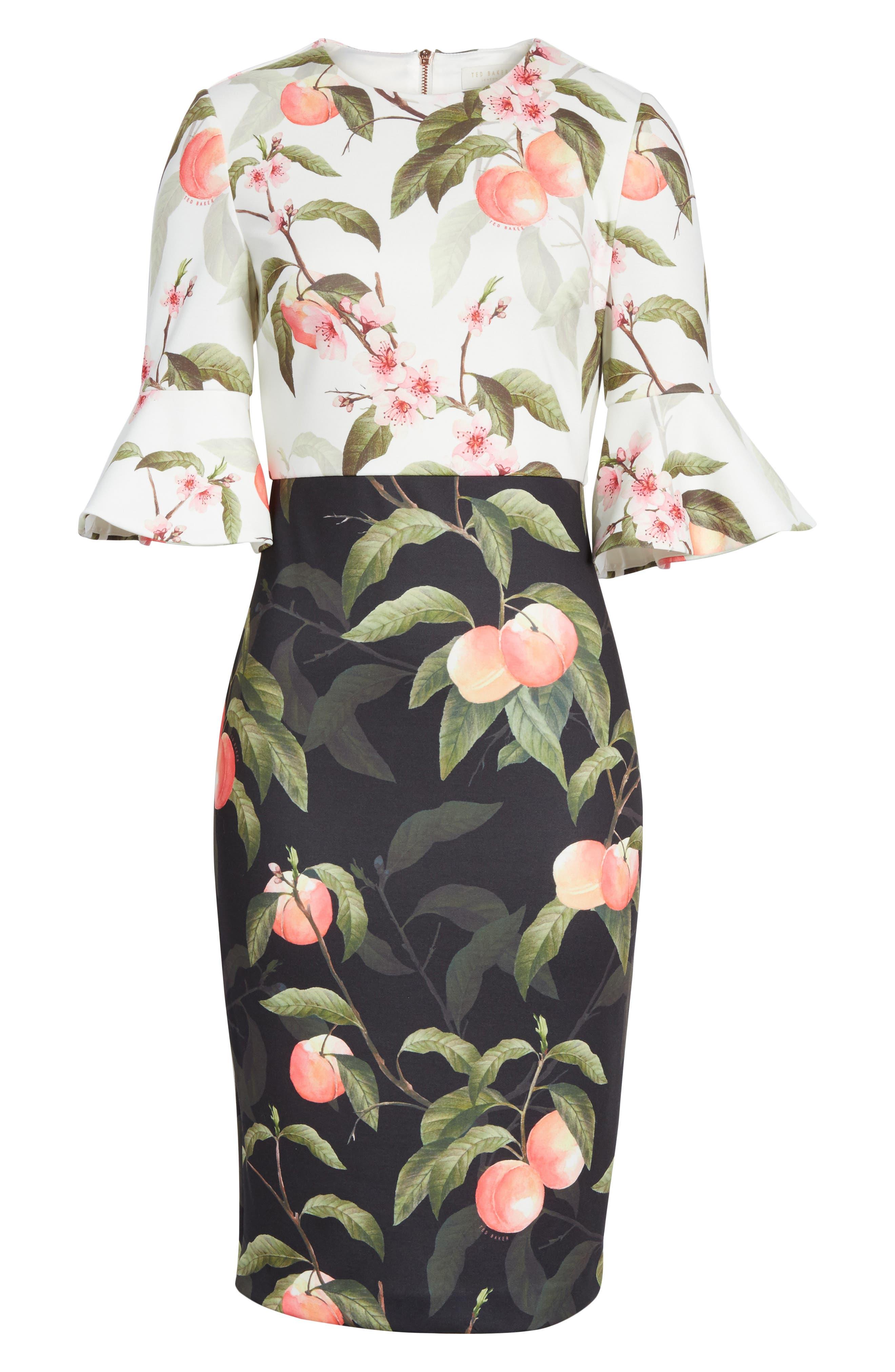 Peach Blossom Sheath Dress,                             Alternate thumbnail 6, color,                             Black