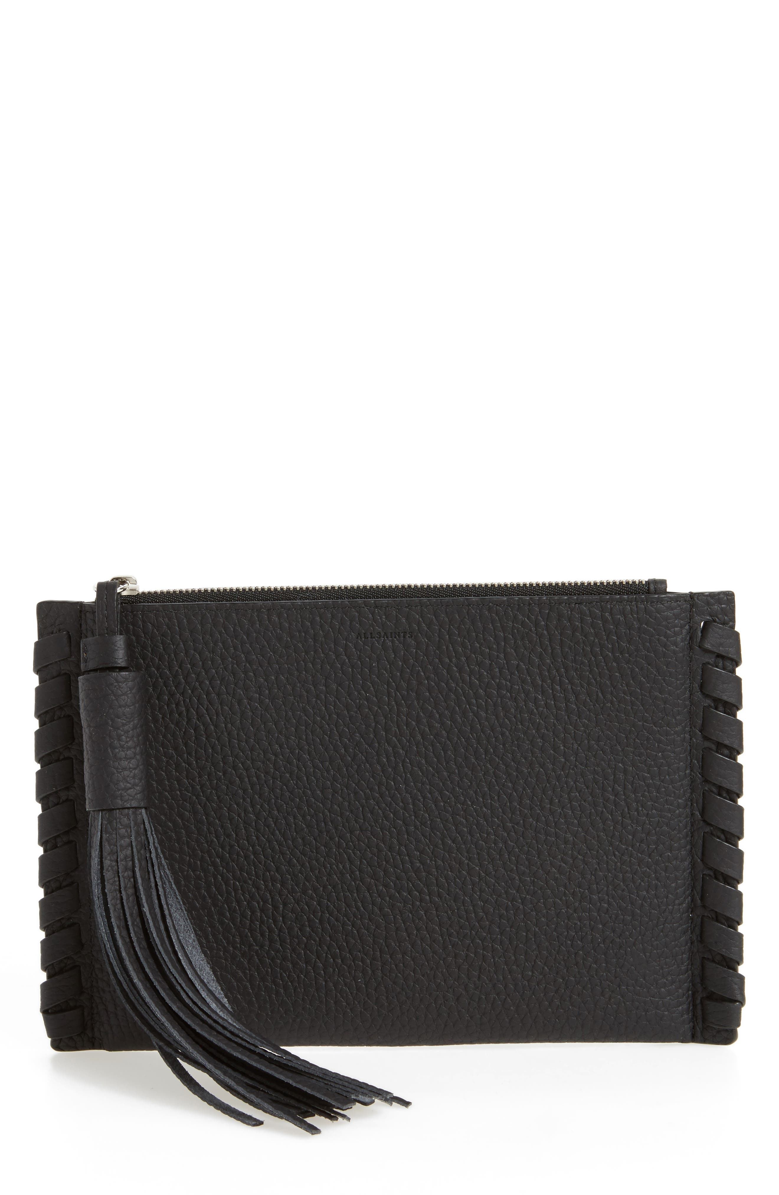 Alternate Image 1 Selected - ALLSAINTS Small Kepi Leather Zip Pouch
