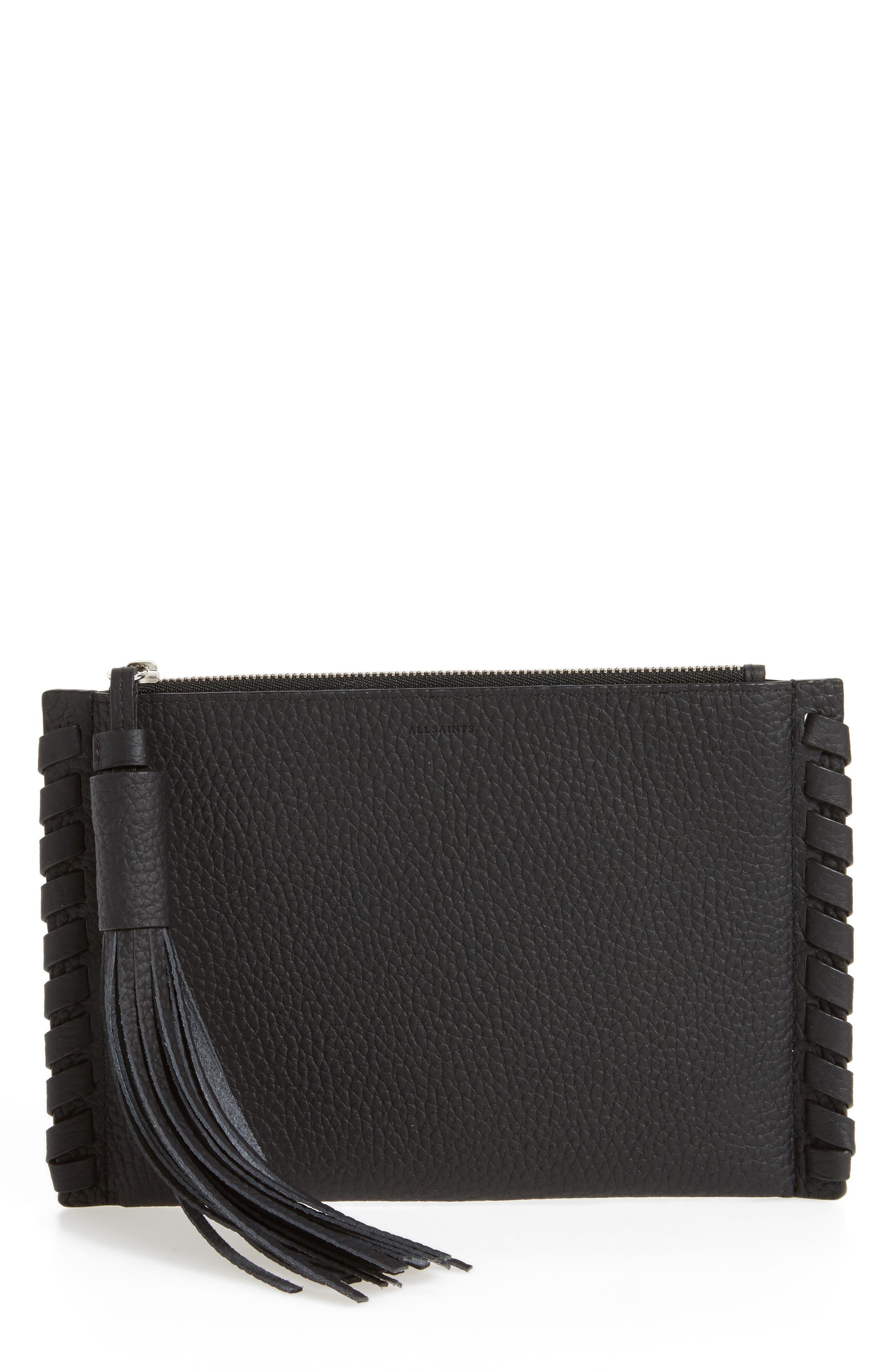 Small Kepi Leather Zip Pouch,                         Main,                         color, Black