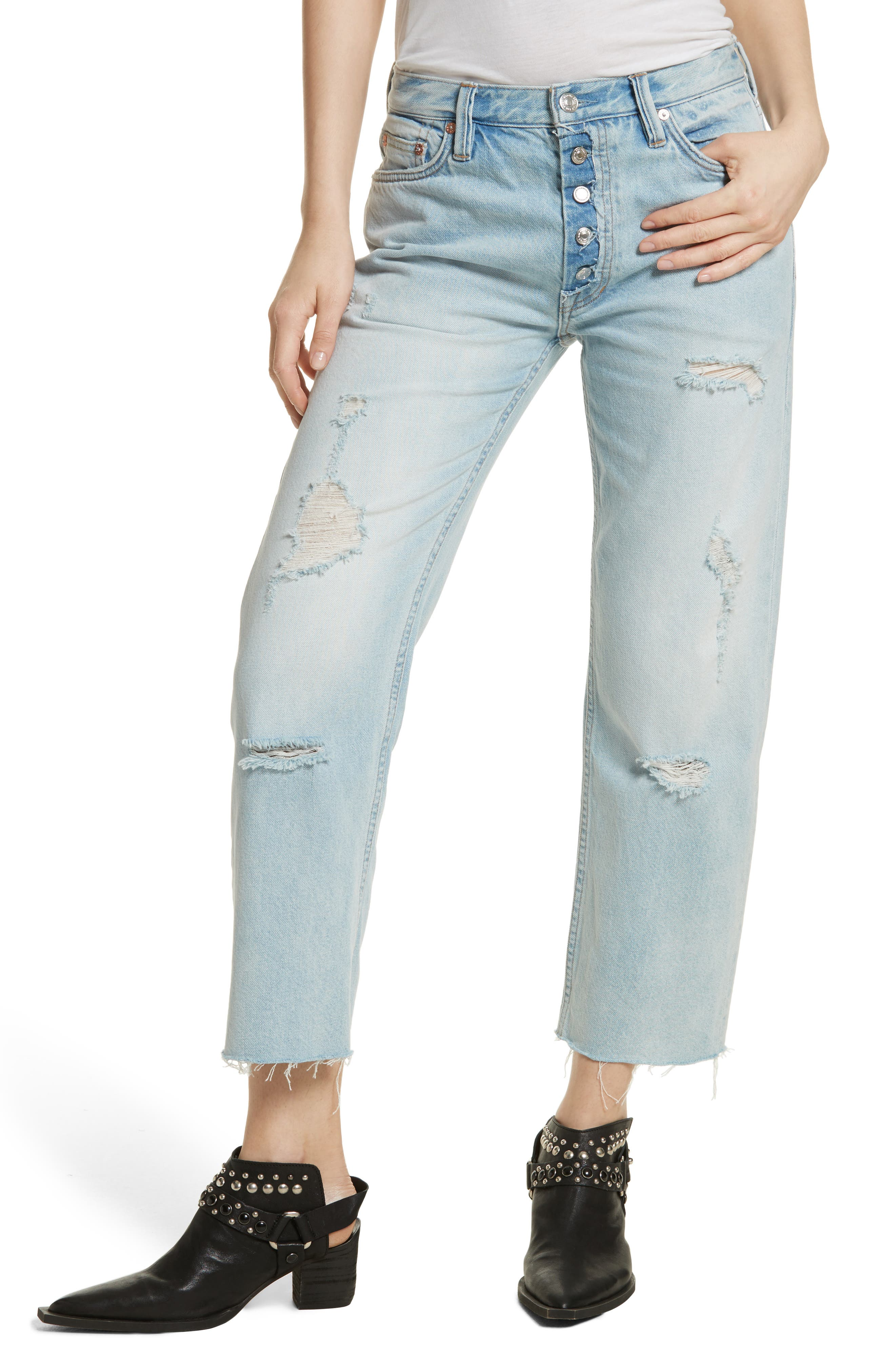 Rolling on the River Straight Leg Jeans,                             Main thumbnail 1, color,                             Light Denim