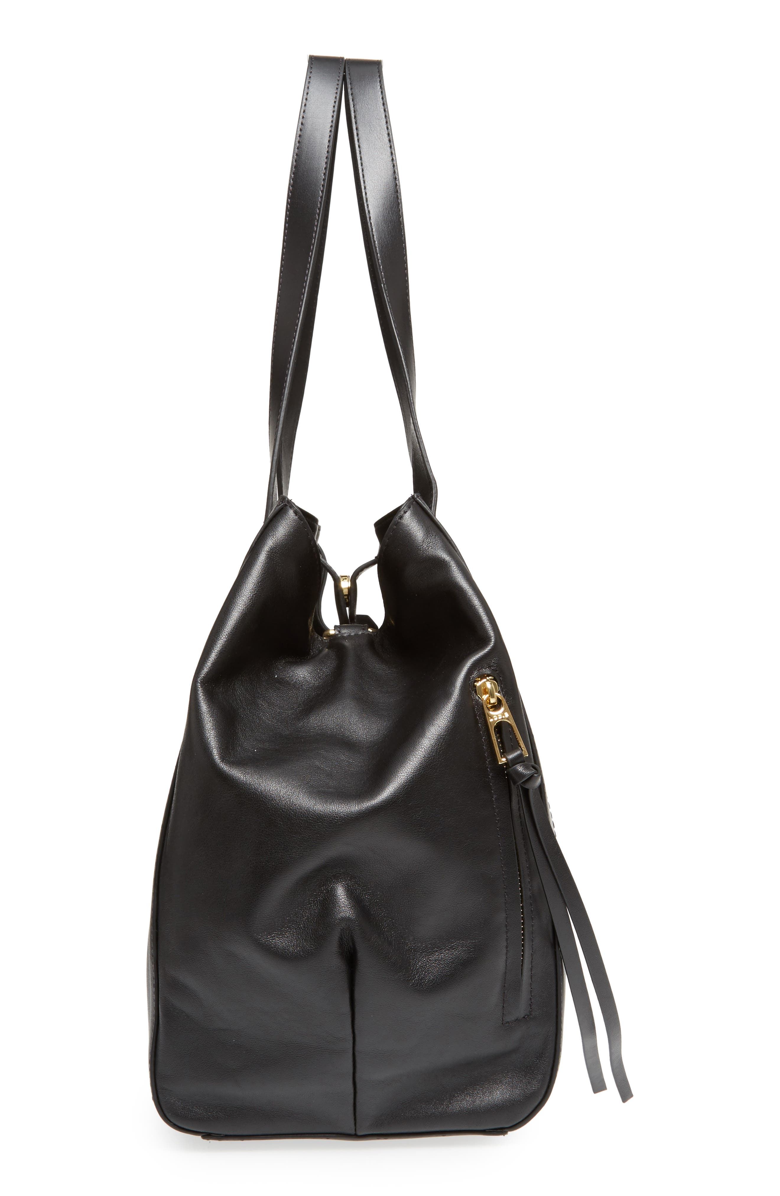 Downtown Charlize RFID Leather Tote,                             Alternate thumbnail 5, color,                             Black