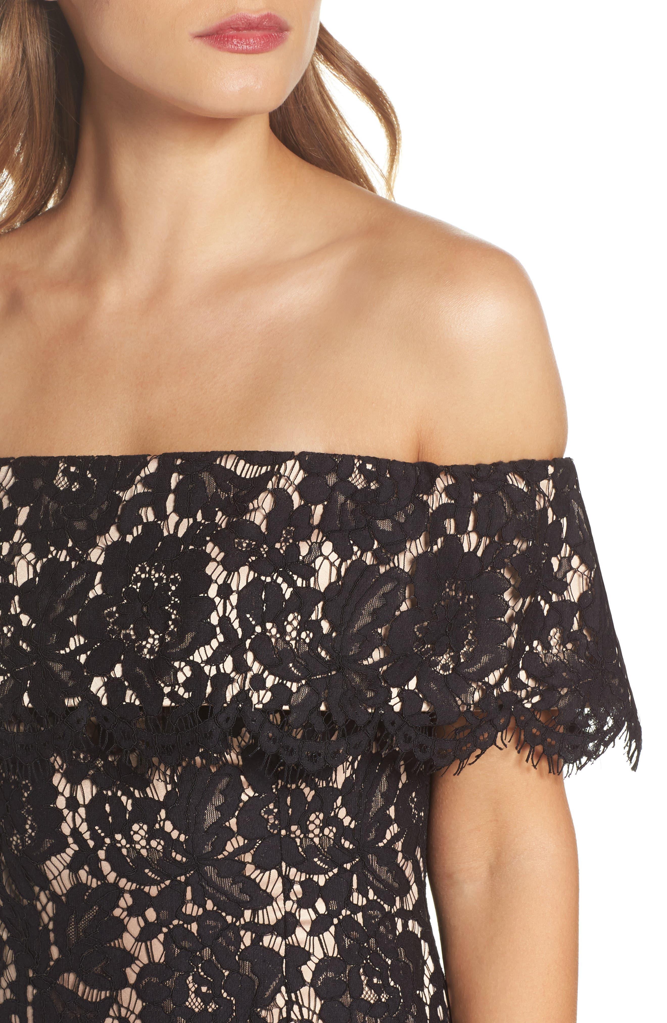 Lace Off the Shoulder Midi Dress,                             Alternate thumbnail 4, color,                             Black