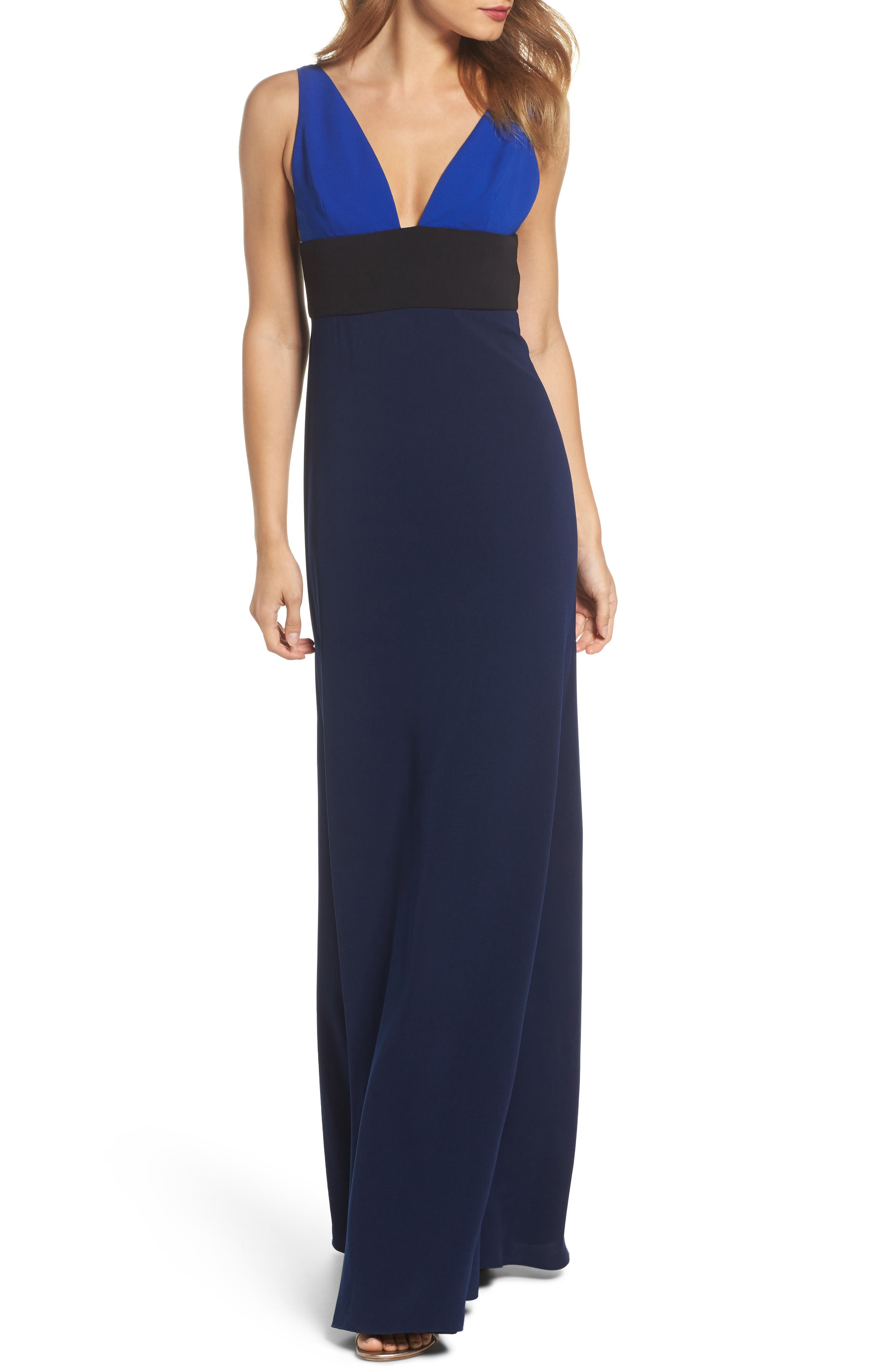 Colorblock V-Neck Gown,                         Main,                         color, China Blue/ Black/ Midnight