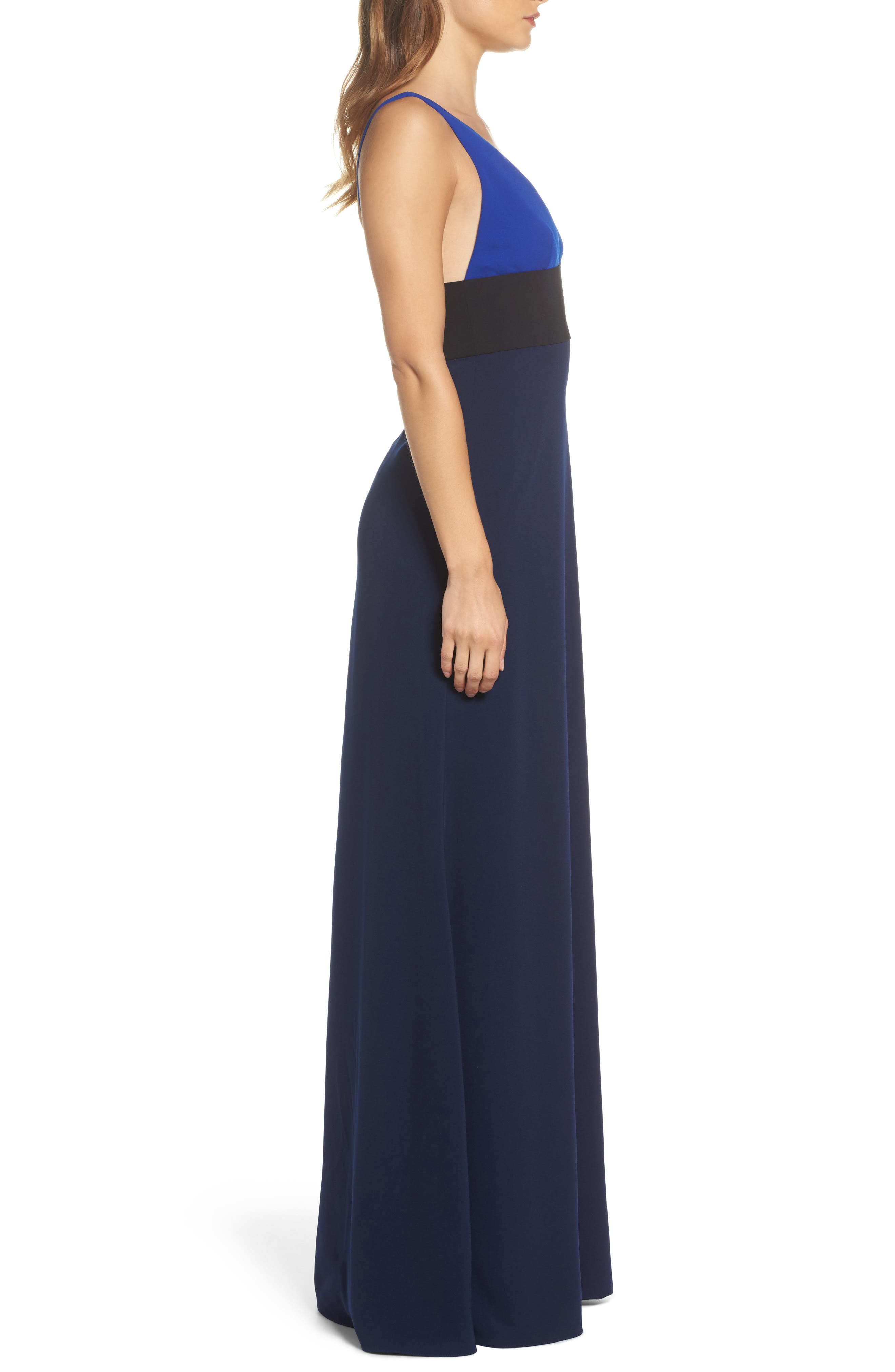 Colorblock V-Neck Gown,                             Alternate thumbnail 3, color,                             China Blue/ Black/ Midnight
