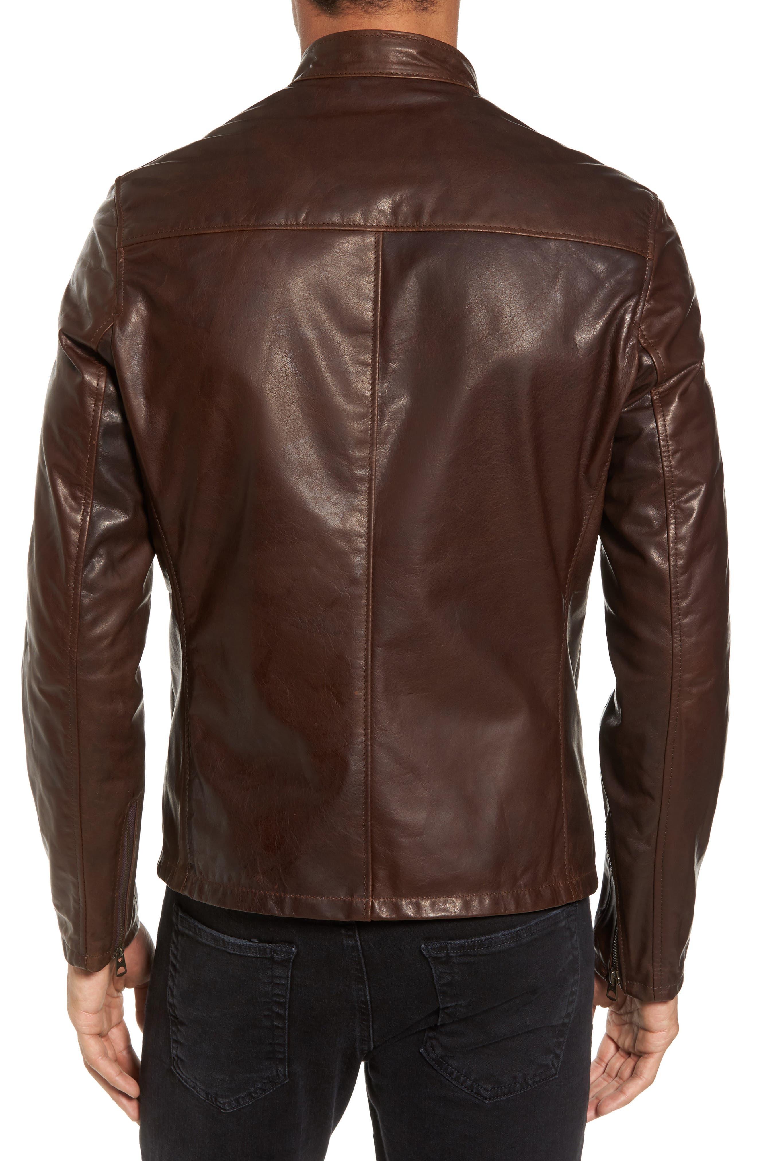 Café Racer Unlined Cowhide Leather Jacket,                             Alternate thumbnail 2, color,                             Brown