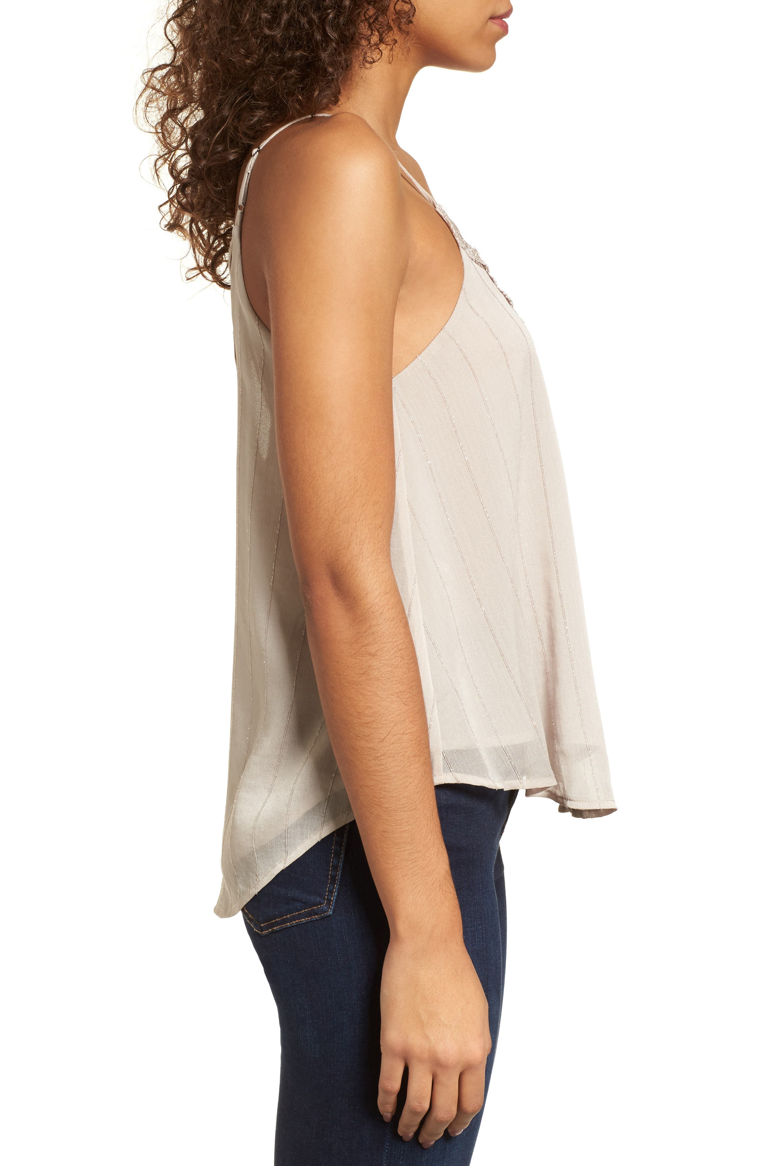 Lace-Up Camisole,                             Alternate thumbnail 3, color,                             Grey Chateau