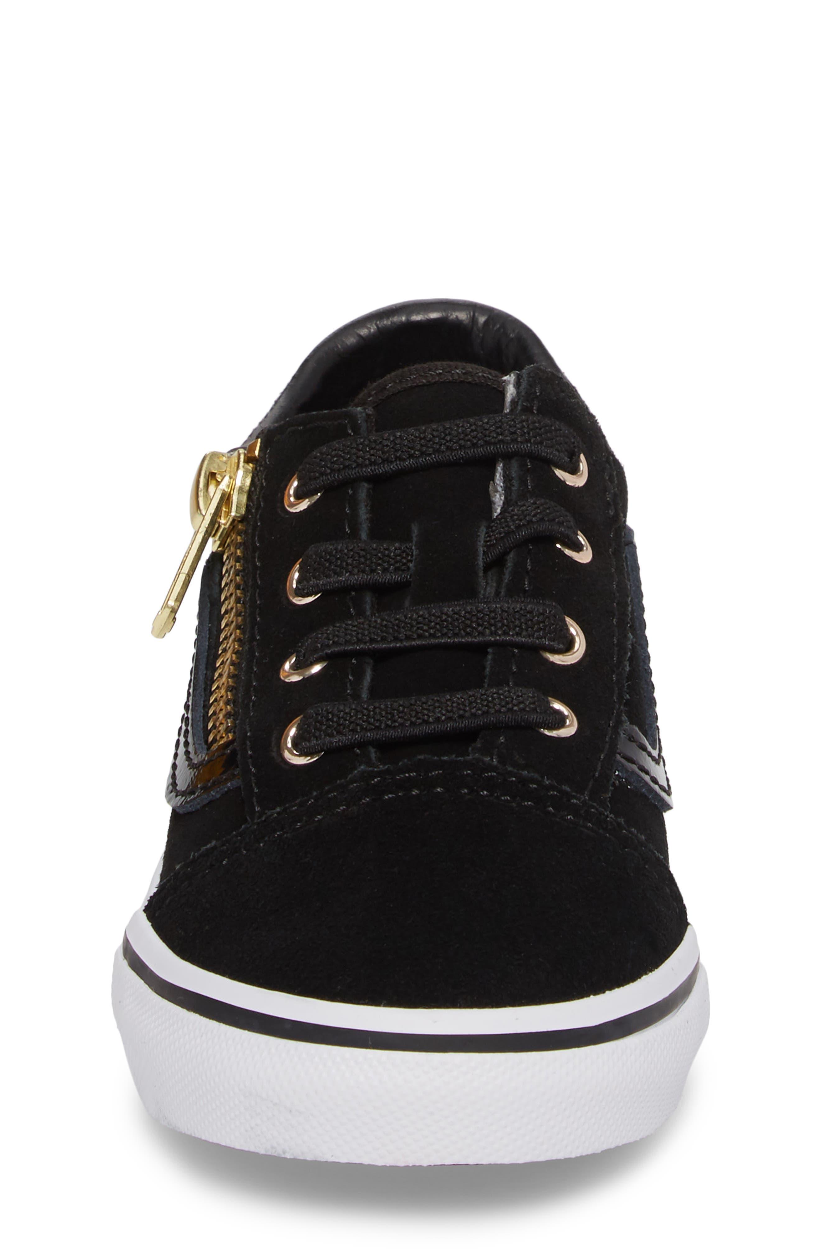 Old Skool Zip Sneaker,                             Alternate thumbnail 4, color,                             Black/ Gold
