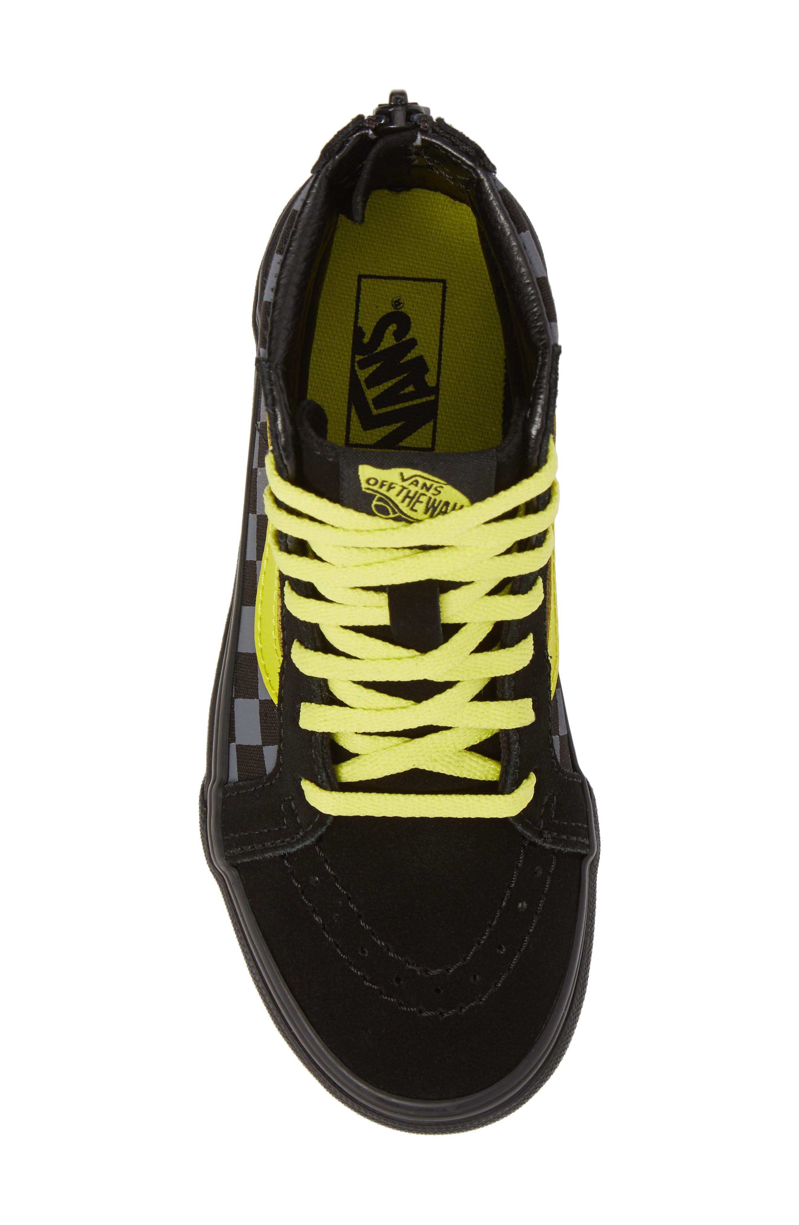 Reflective Checkerboard SK8-Hi Zip Sneaker,                             Alternate thumbnail 5, color,                             Asphalt/ Reflective