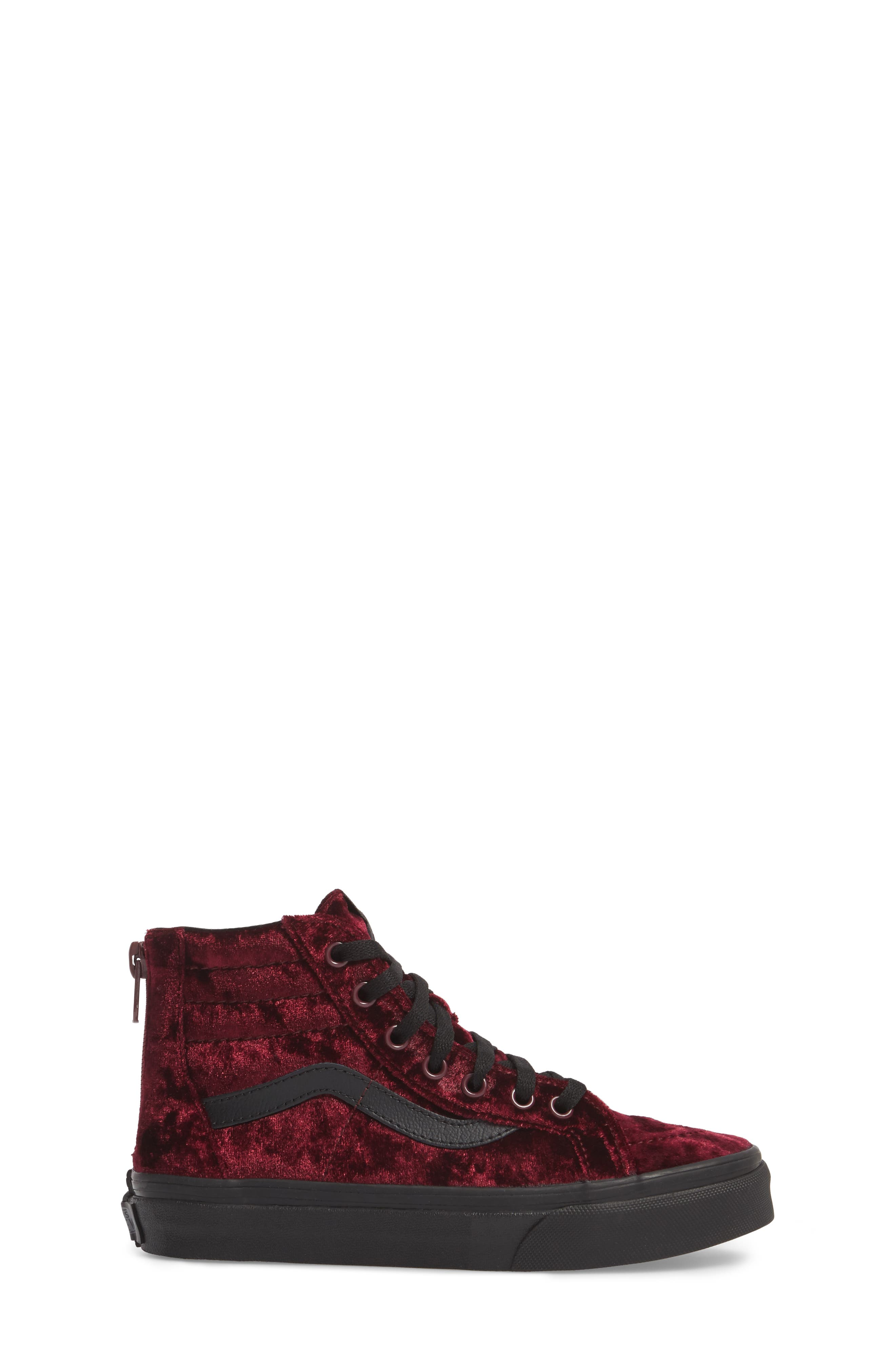 SK8-Hi Zip Sneaker,                             Alternate thumbnail 3, color,                             Red/ Black