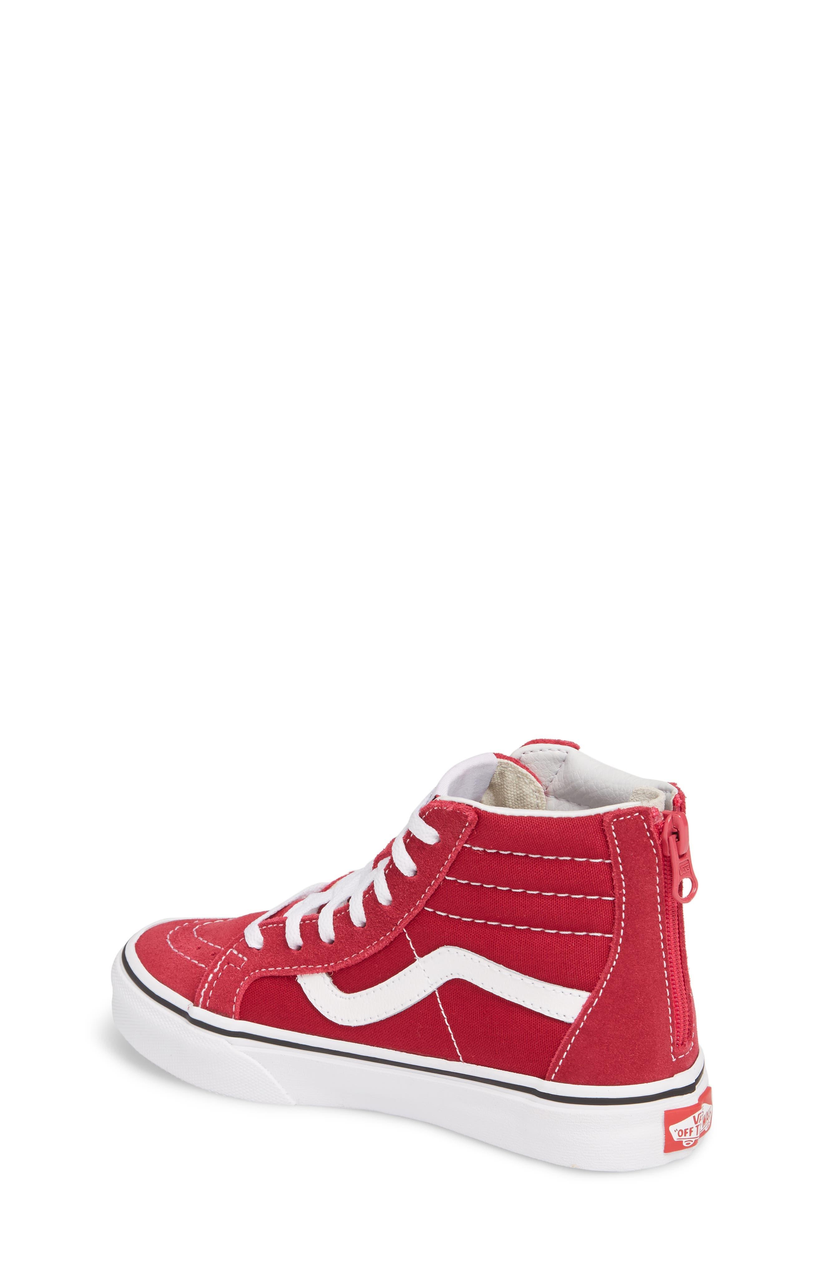 'Sk8-Hi' Zip Sneaker,                             Alternate thumbnail 2, color,                             Persian Red/ True White
