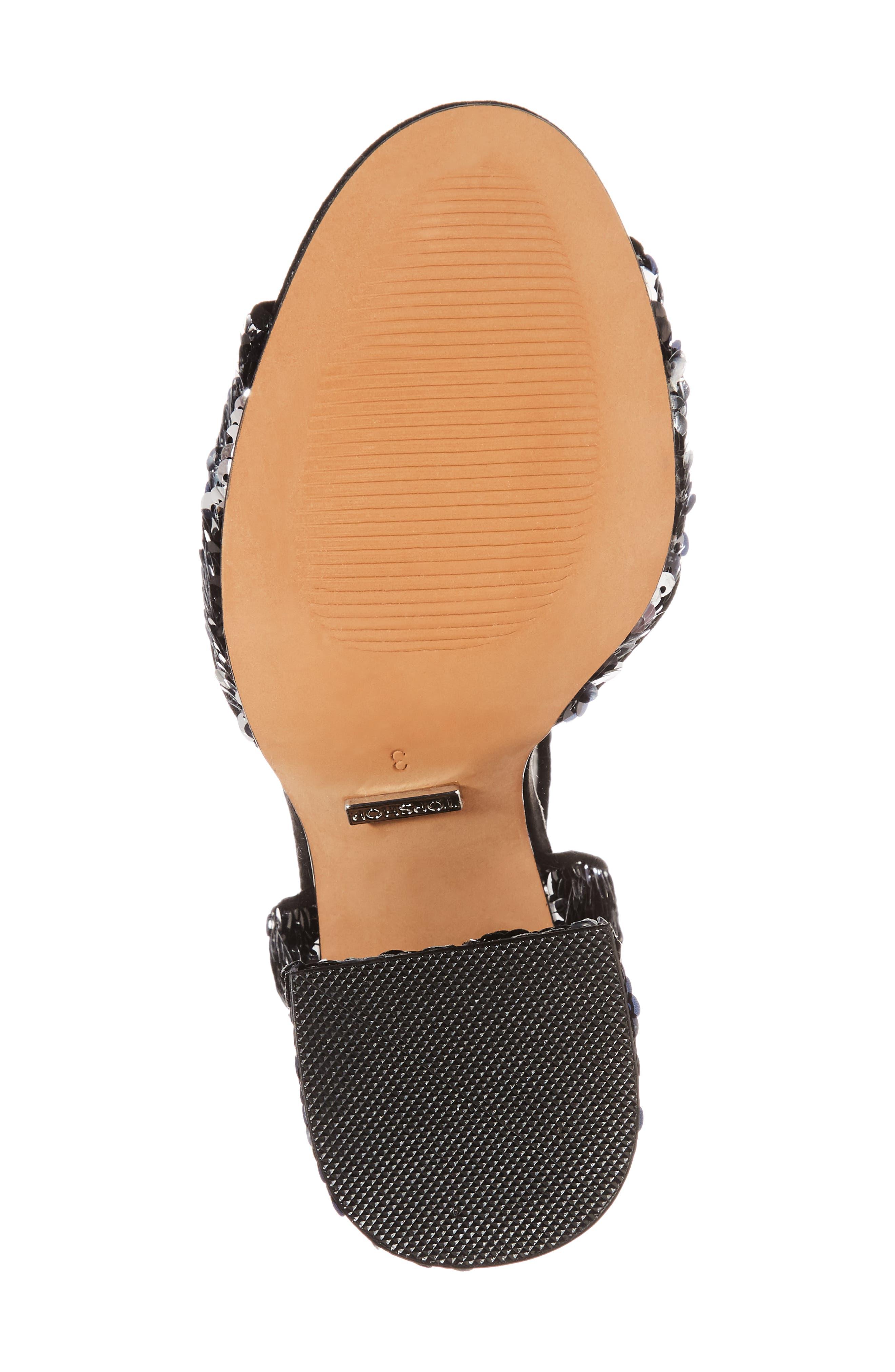 Reaction Sequin Block Heel Sandal,                             Alternate thumbnail 6, color,                             Black Multi