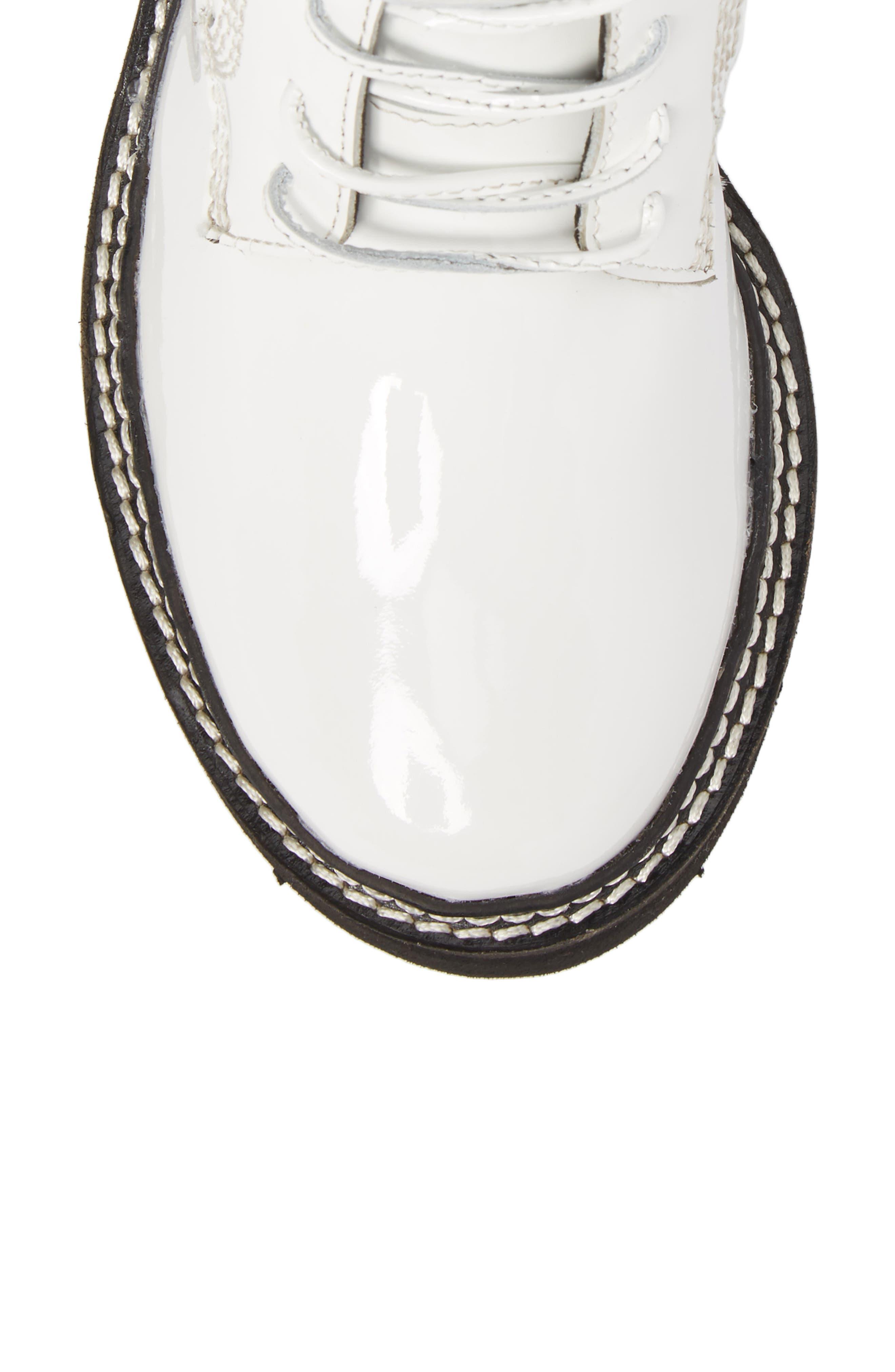 Agira Lug Boot,                             Alternate thumbnail 5, color,                             White Patent Leather