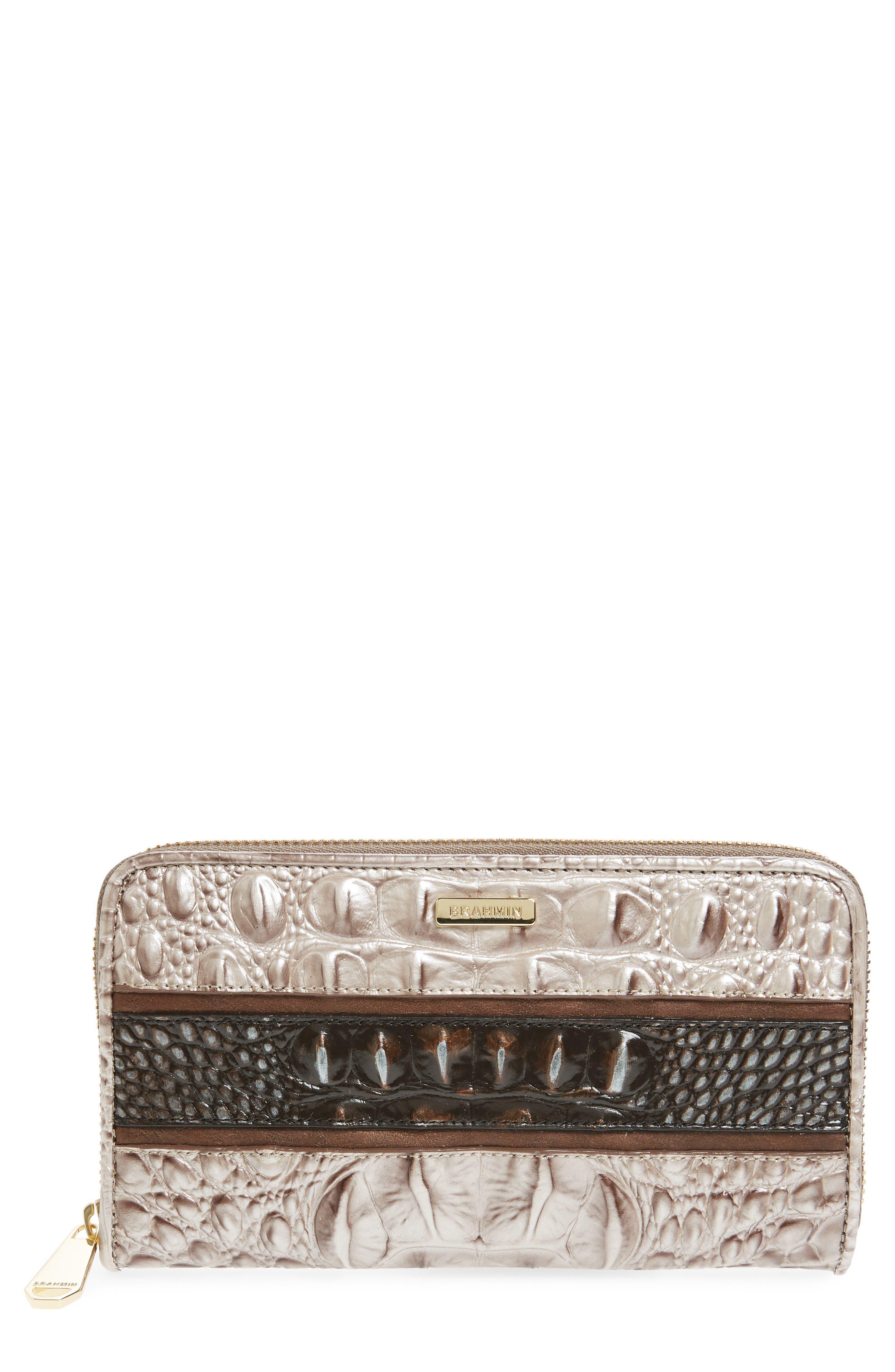 Suri Leather Zip Around Wallet,                             Main thumbnail 1, color,                             Chardonnay