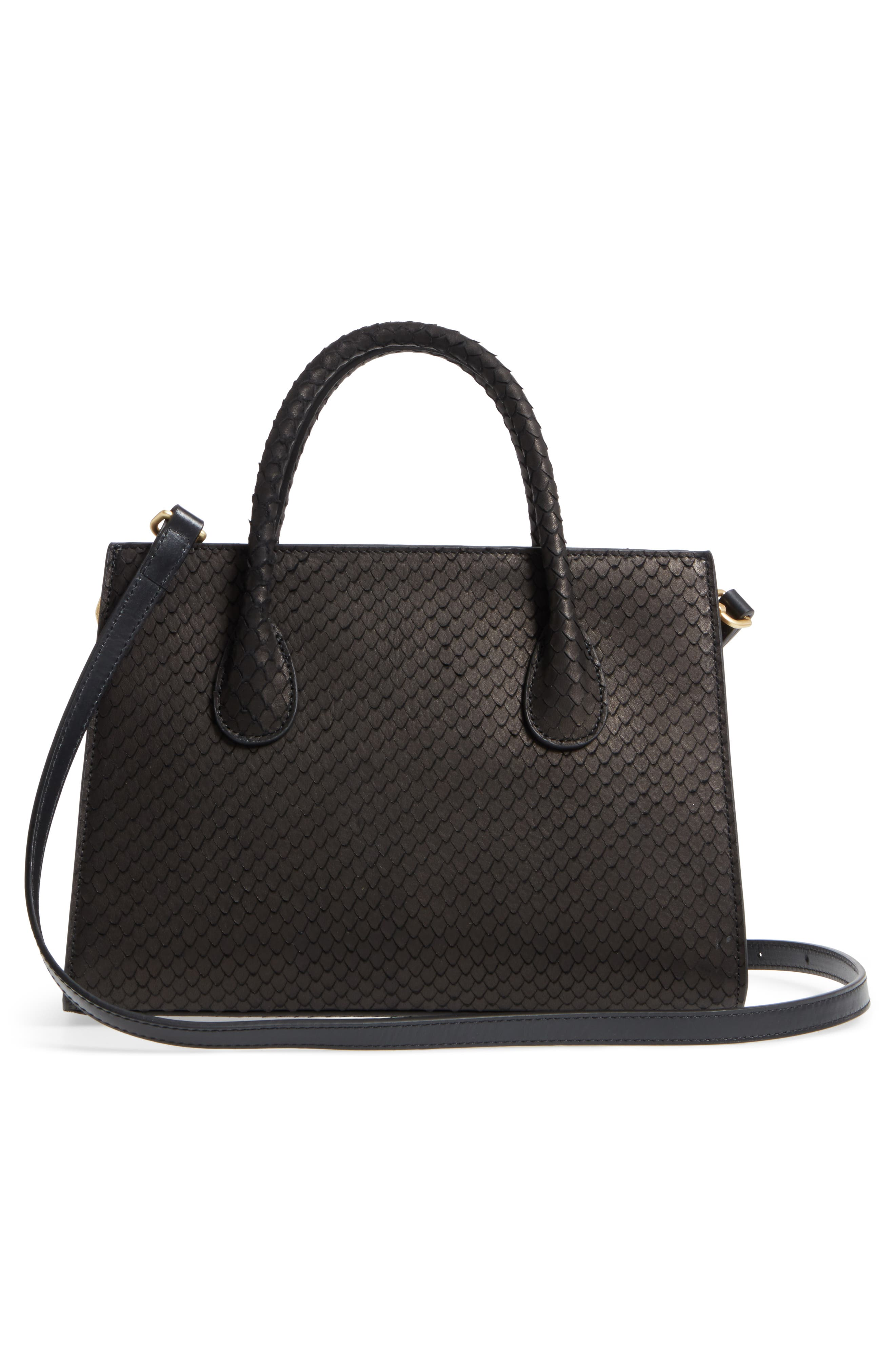 Céline Dion Octave Snake Embossed Leather Satchel,                             Alternate thumbnail 3, color,                             Black Snake