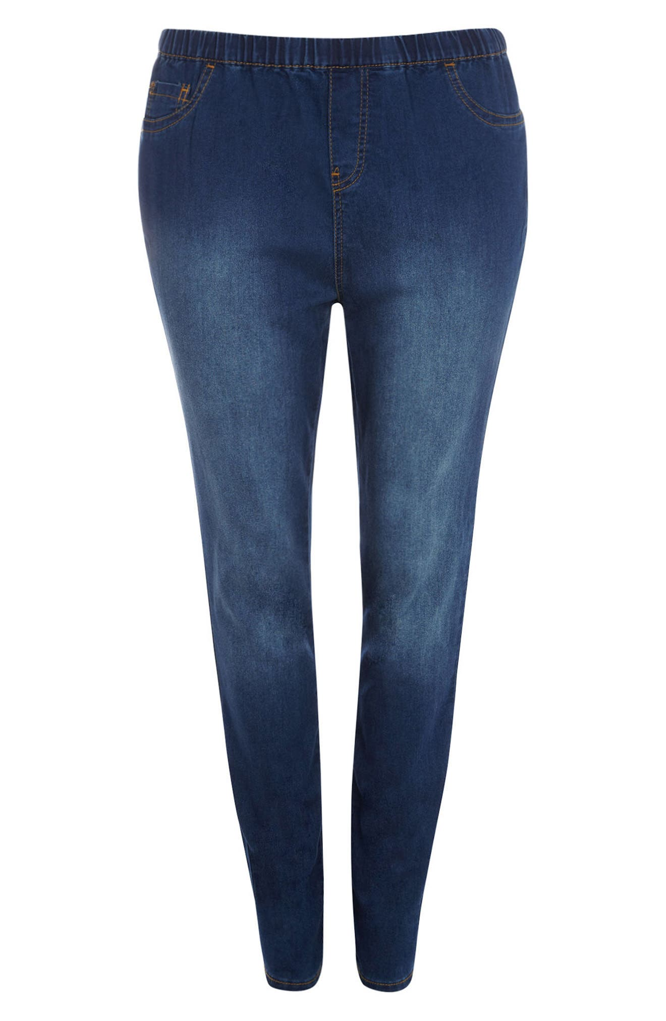 Denim Leggings,                             Alternate thumbnail 5, color,                             Mid Wash
