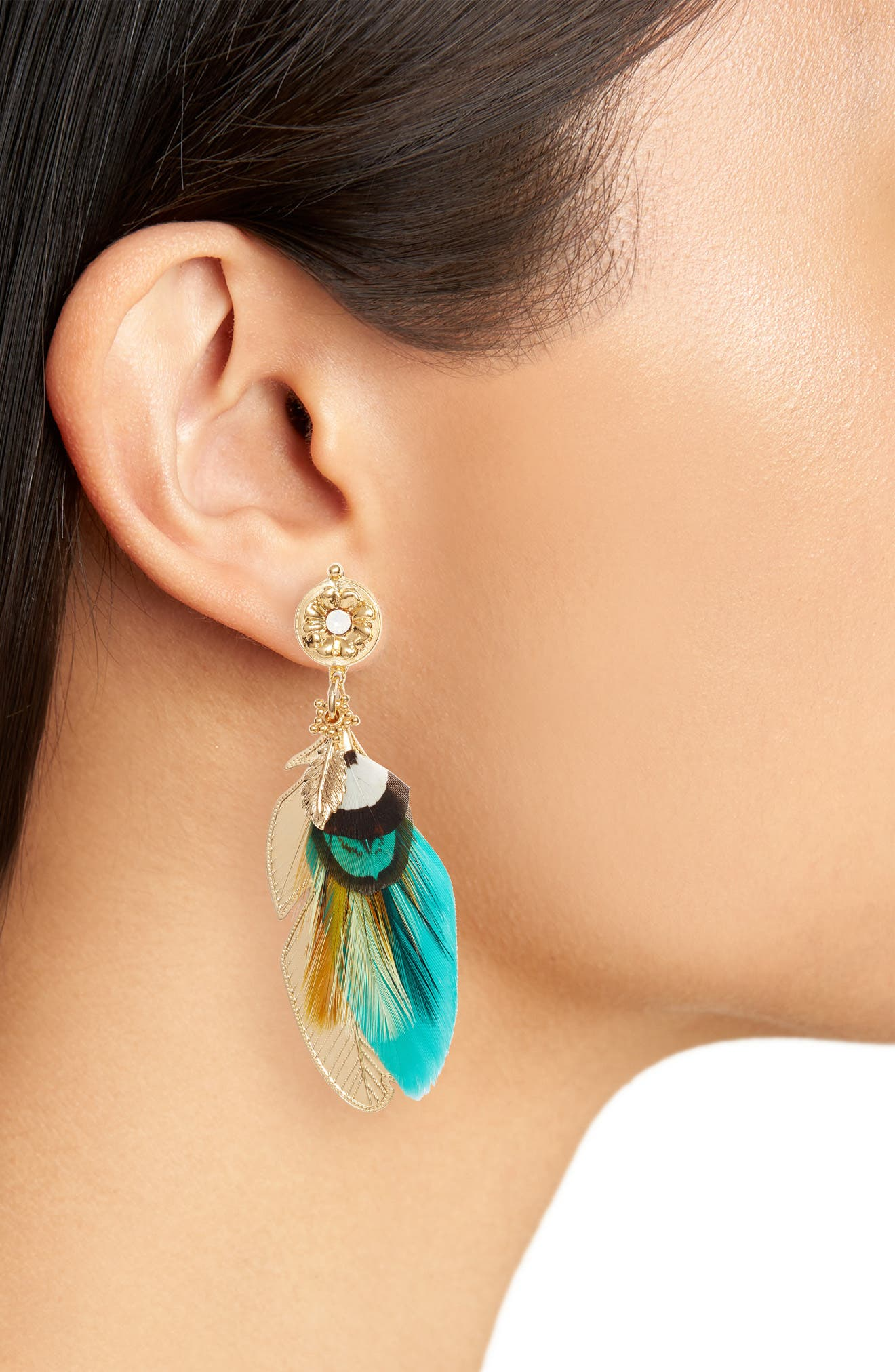 Alternate Image 2  - Gas Bijoux Small Sao Feather Earrings