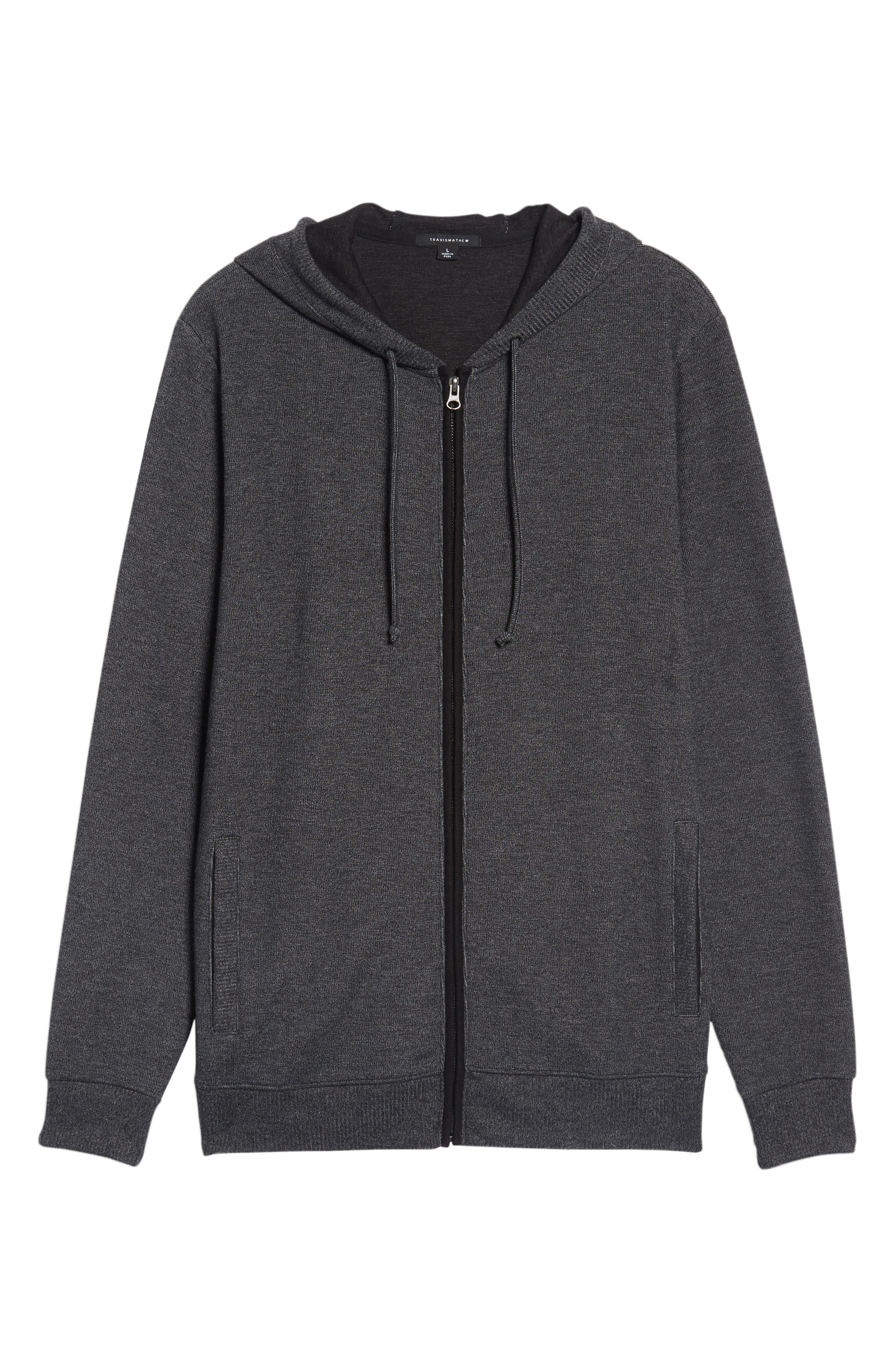 Snare Zip Front Hooded Cardigan,                             Alternate thumbnail 6, color,                             Black