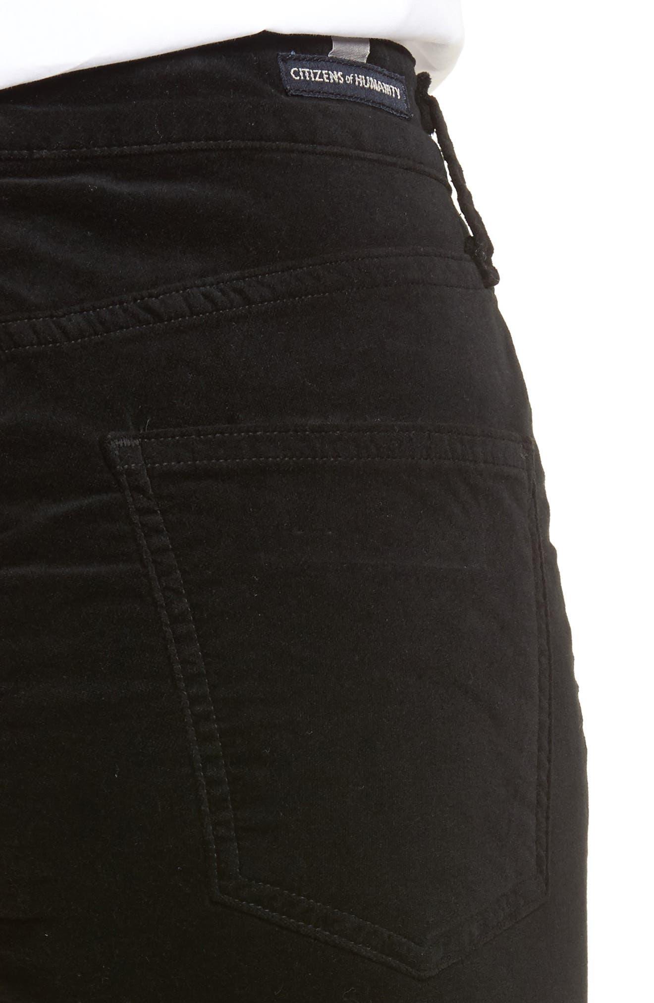 Cara High Waist Ankle Cigarette Velvet Pants,                             Alternate thumbnail 4, color,                             Black Currant Velvet