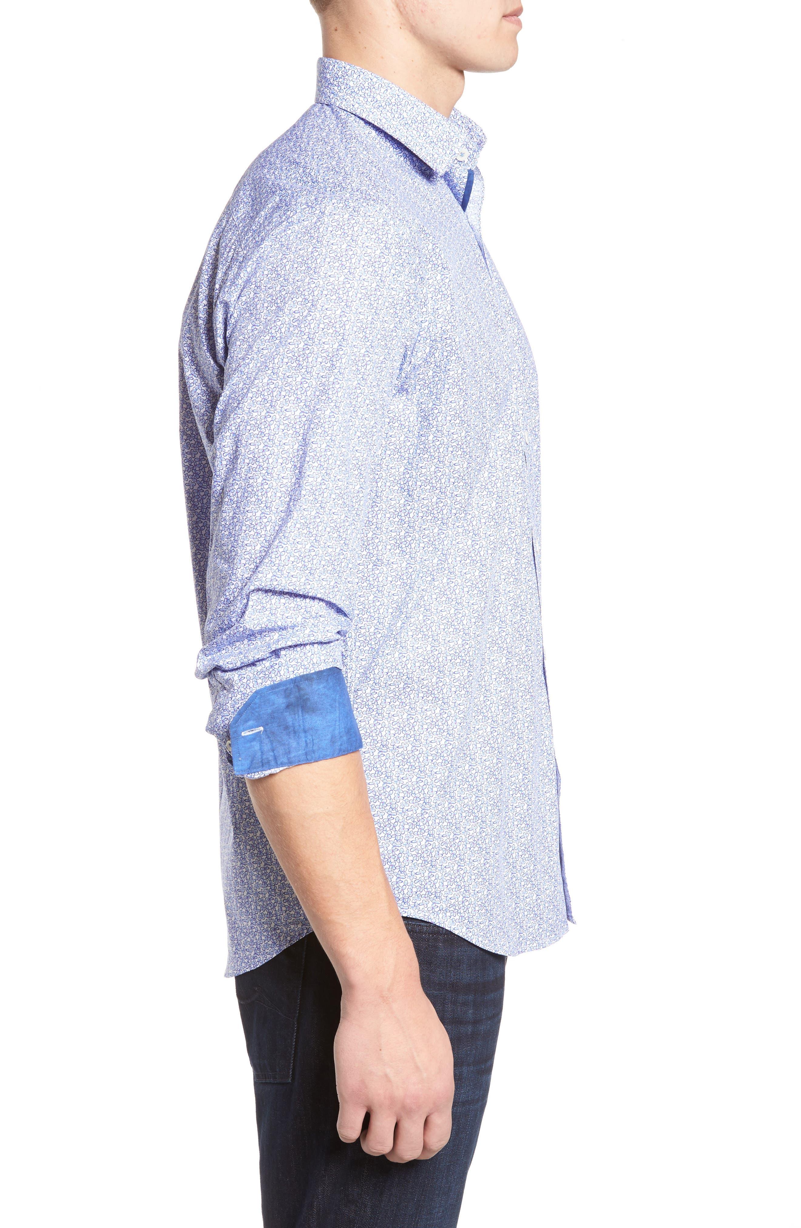 Alternate Image 3  - Bugatchi Classic Fit Print Sport Shirt