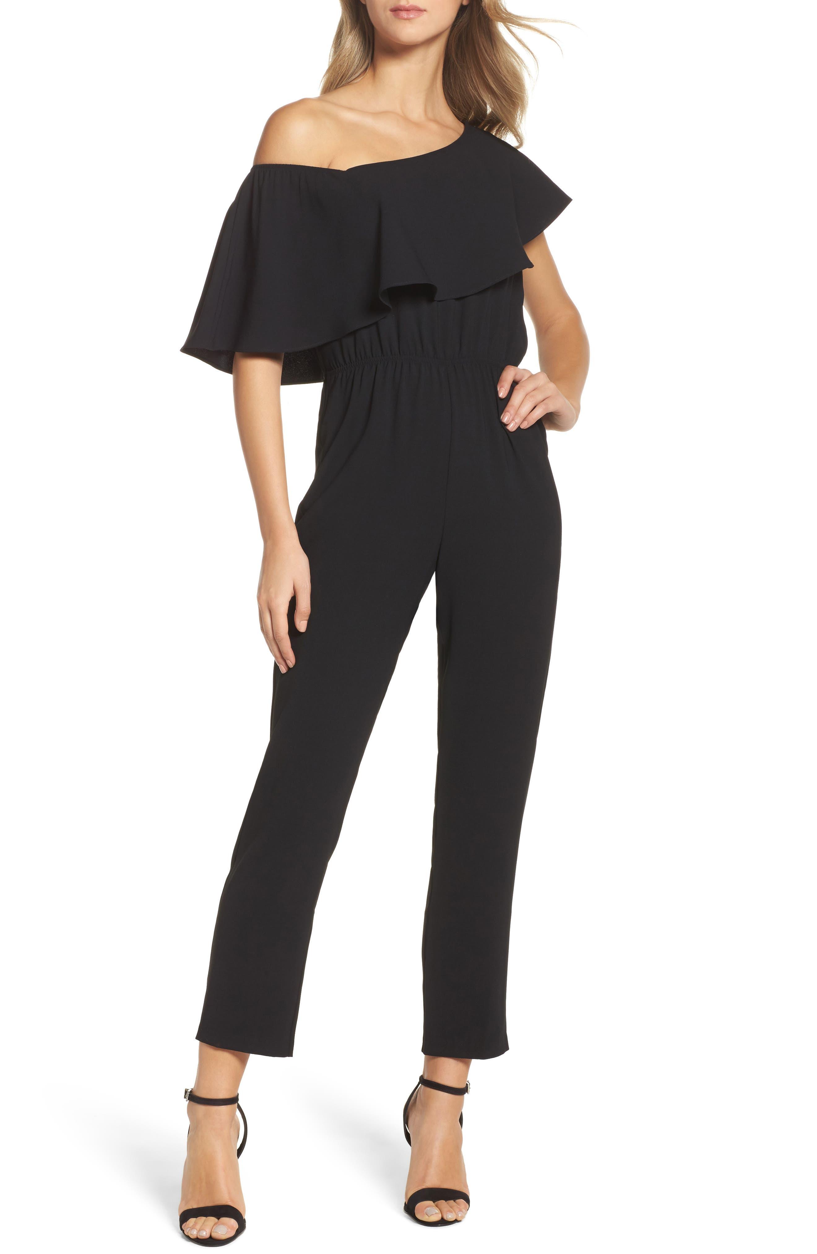 Le Boulevard One-Shoulder Jumpsuit,                         Main,                         color, Black