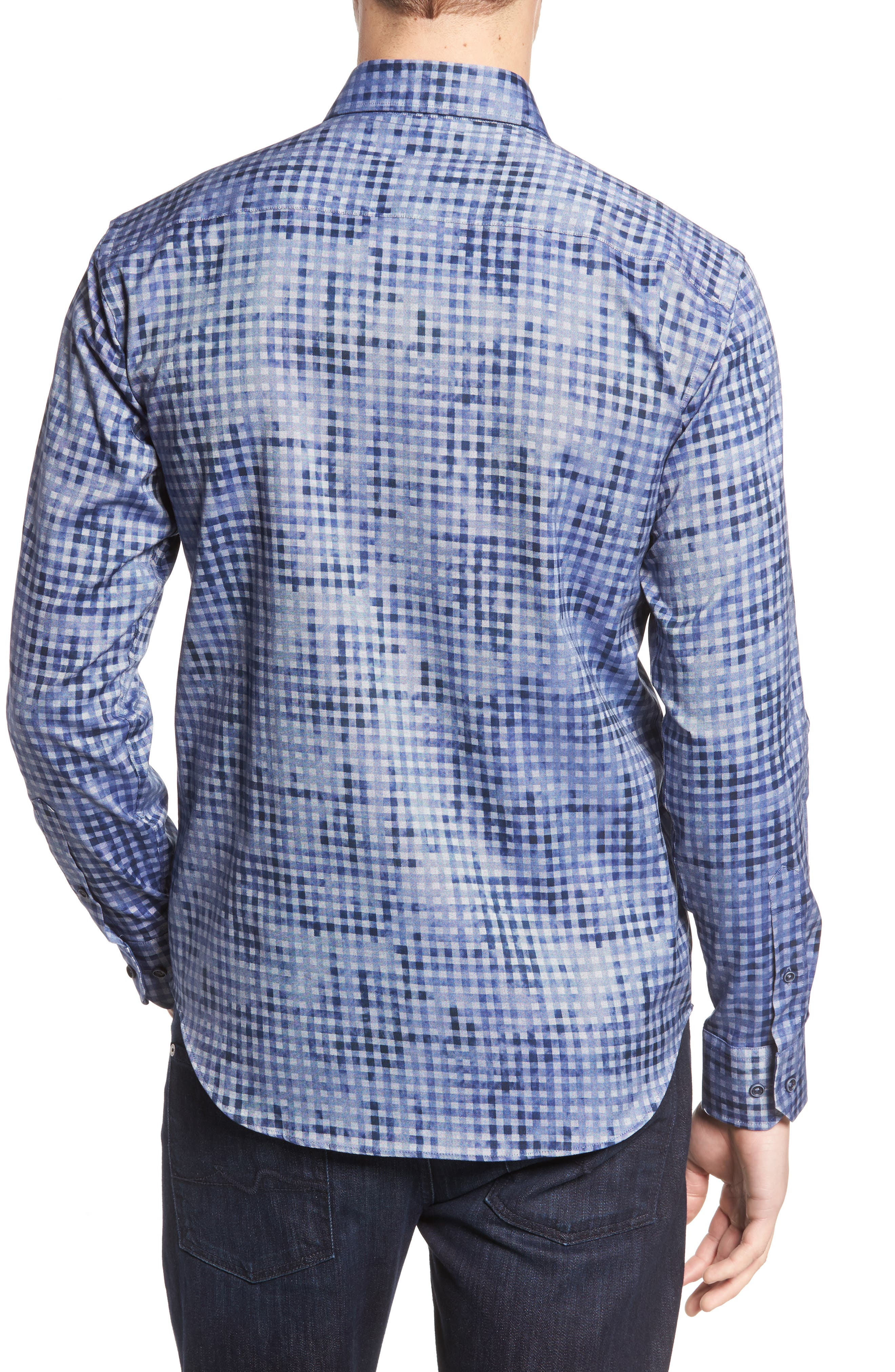 Shaped Fit Optic Print Sport Shirt,                             Alternate thumbnail 2, color,                             Navy