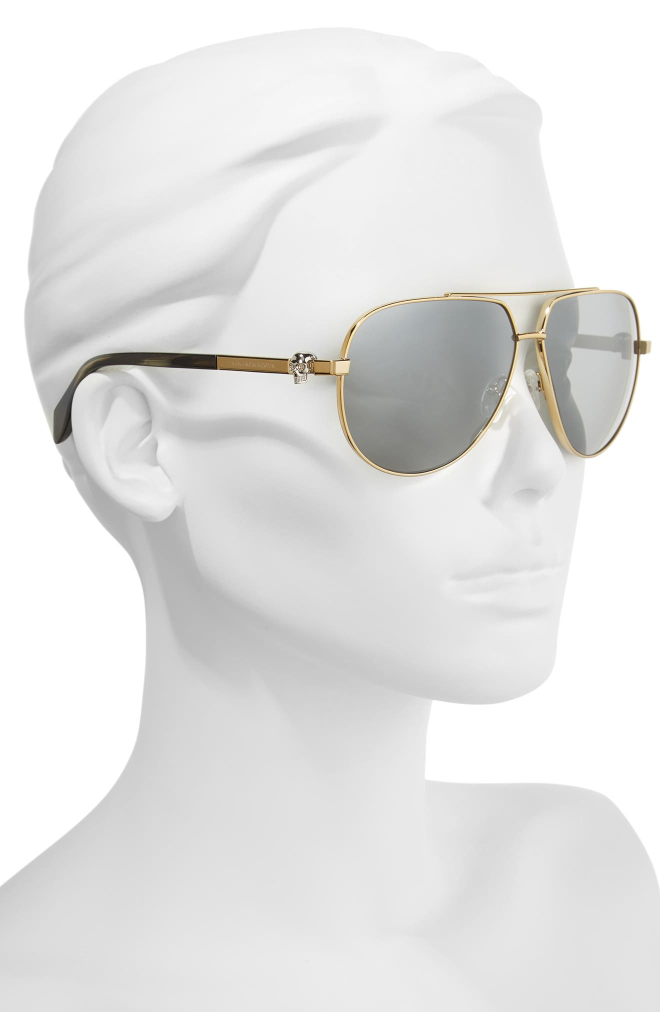 63mm Aviator Sunglasses,                             Alternate thumbnail 2, color,                             Gold