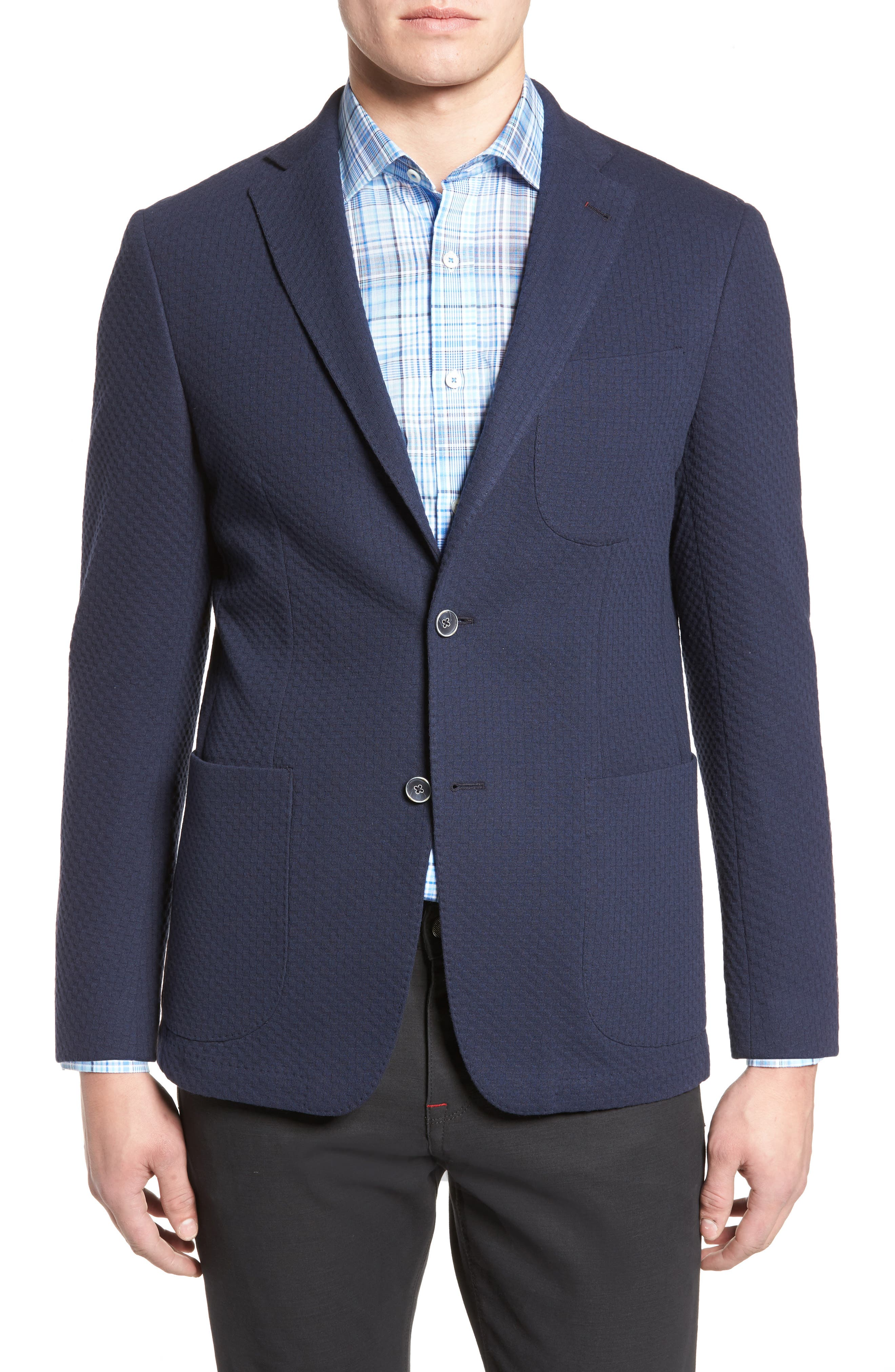 Textured Blazer,                             Main thumbnail 1, color,                             Navy