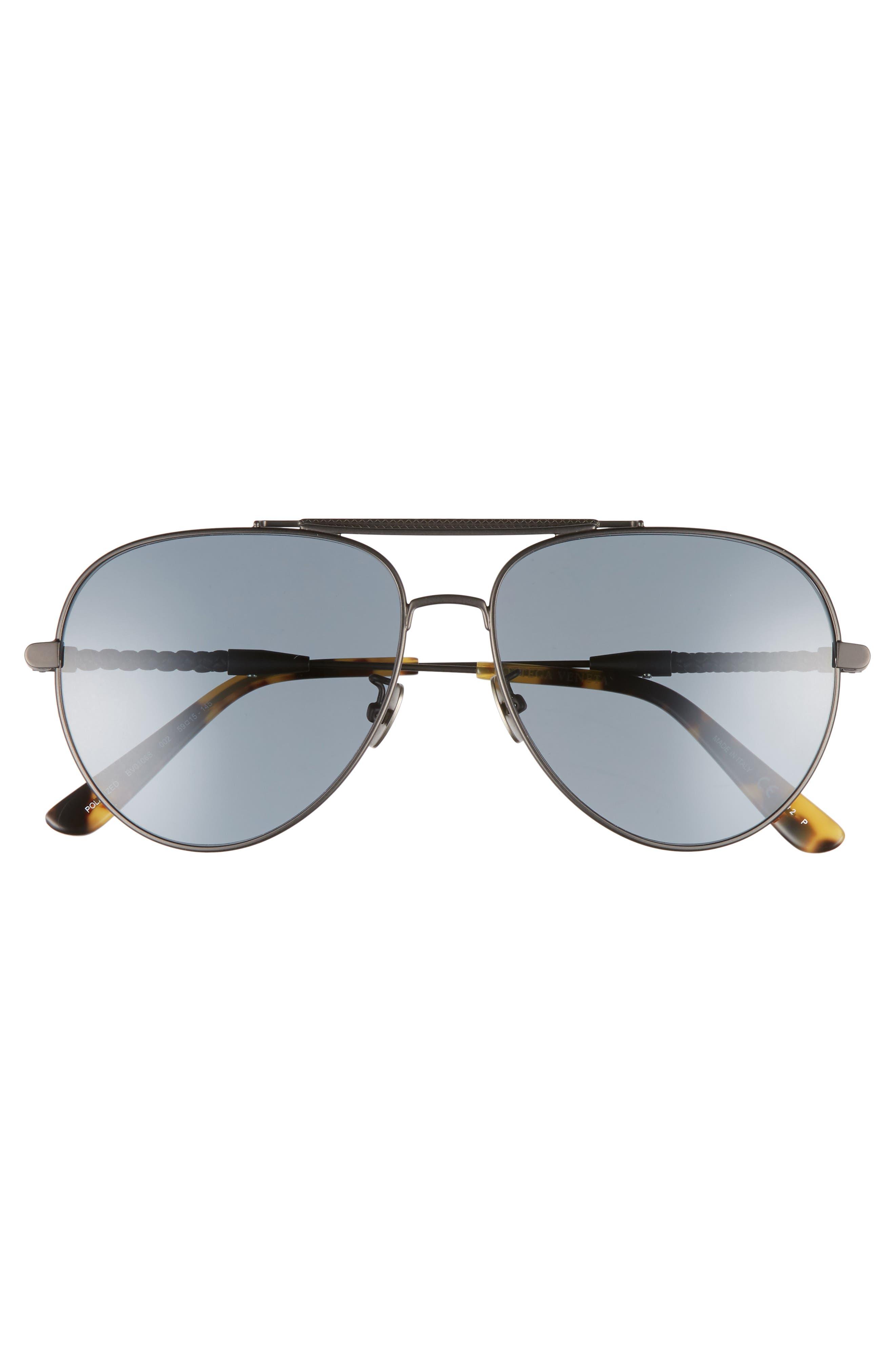 59m Polarized Aviator Sunglasses,                             Alternate thumbnail 3, color,                             Ruthenium