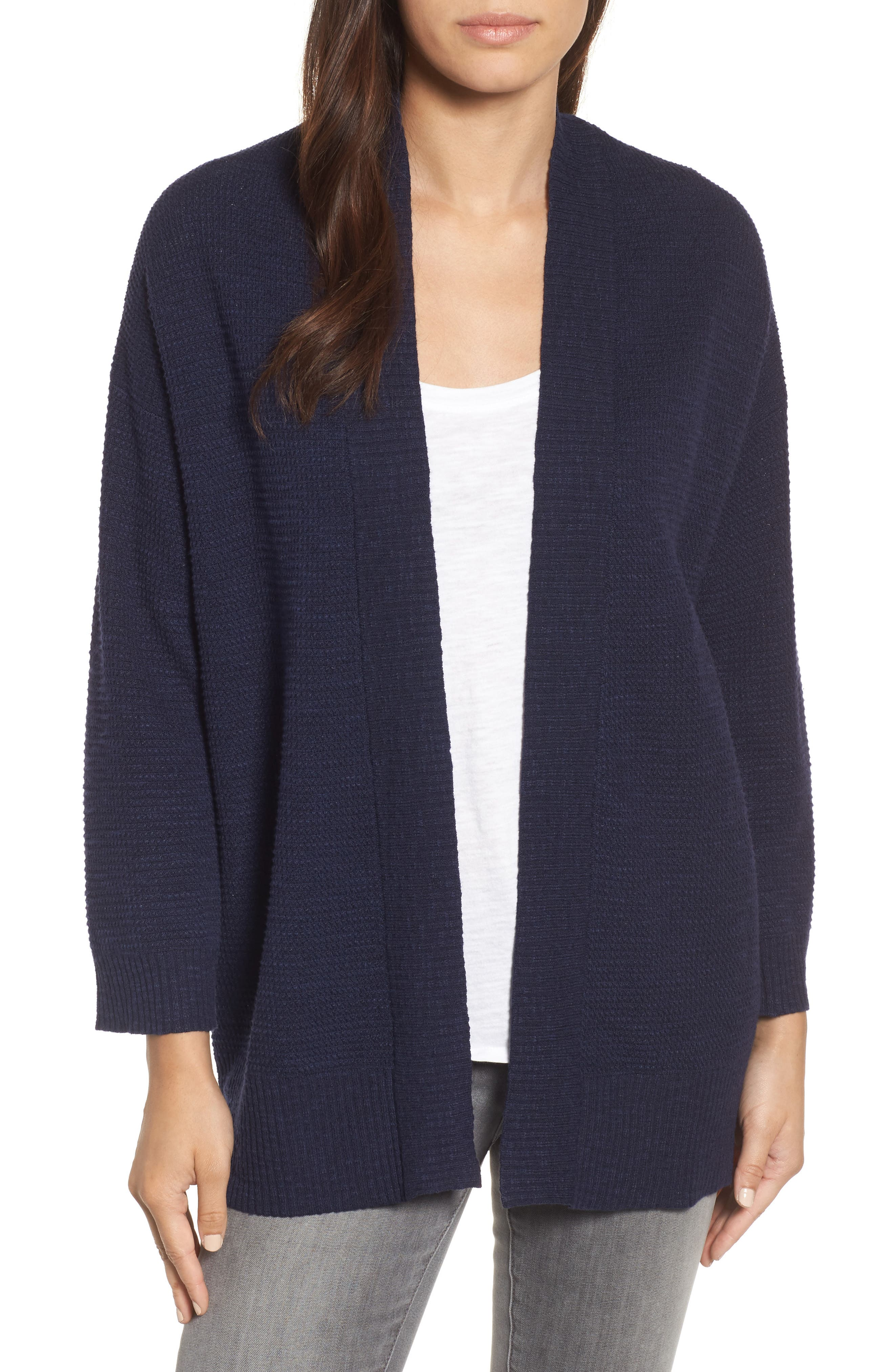 Alternate Image 1 Selected - Eileen Fisher Organic Linen & Cotton Cardigan