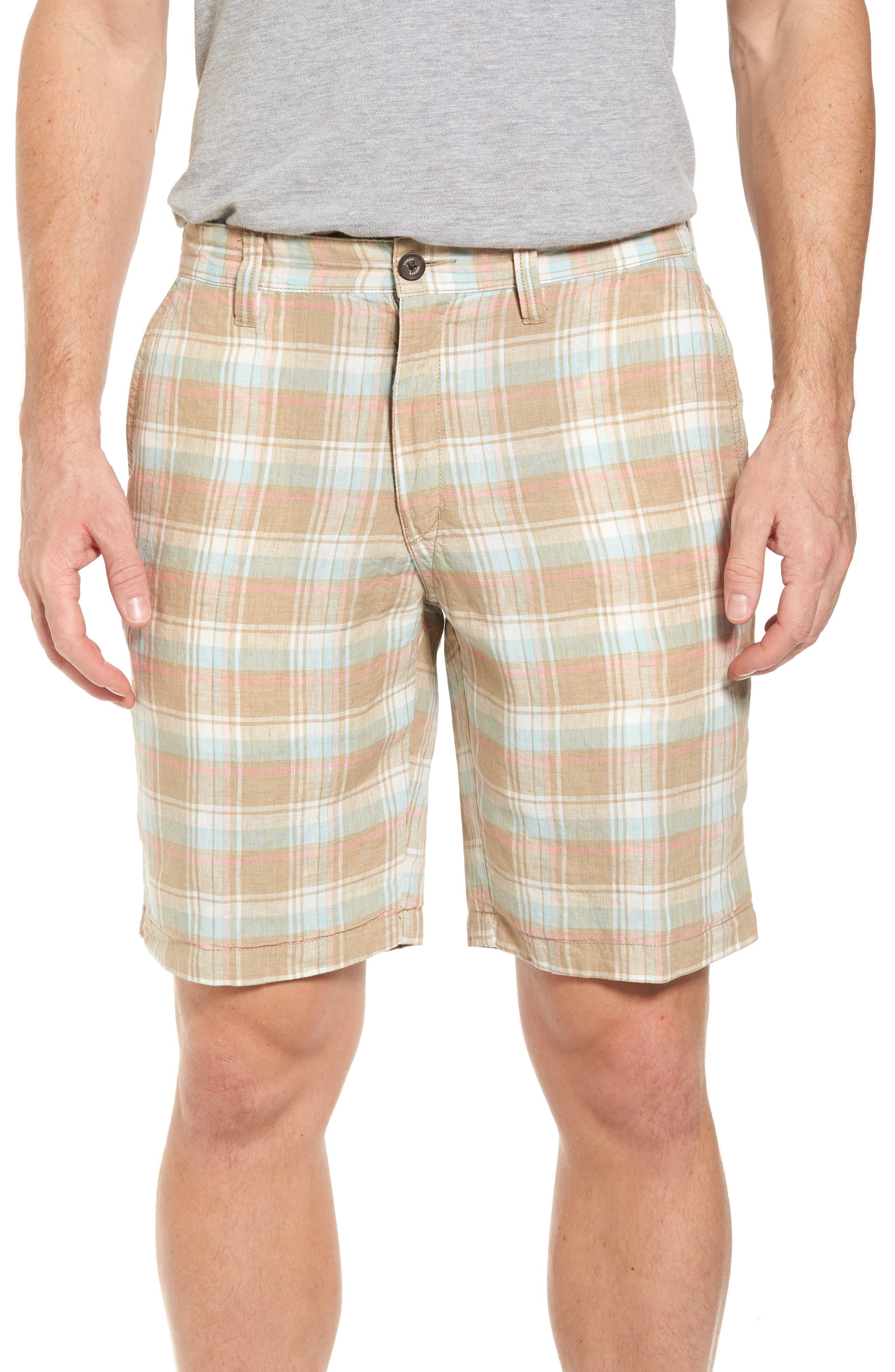 Plaid De Leon Reversible Shorts,                         Main,                         color, Stone Khaki