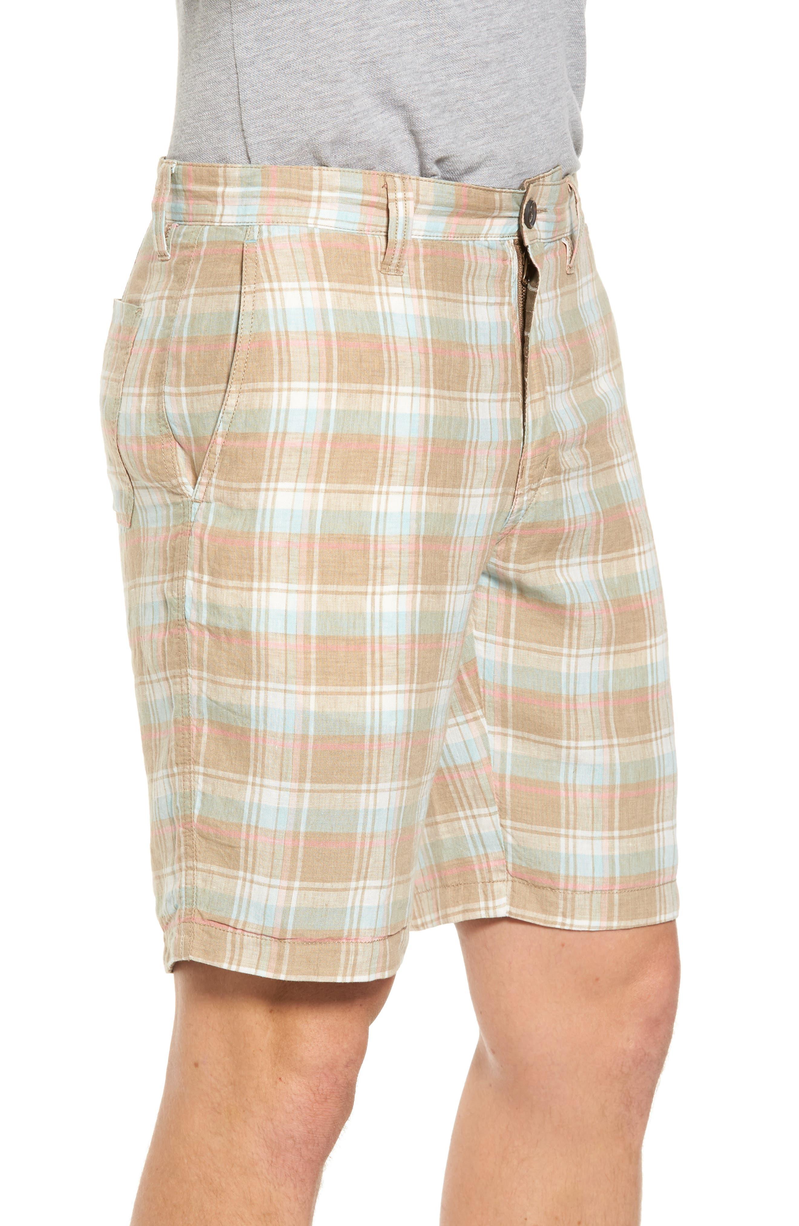 Plaid De Leon Reversible Shorts,                             Alternate thumbnail 3, color,                             Stone Khaki