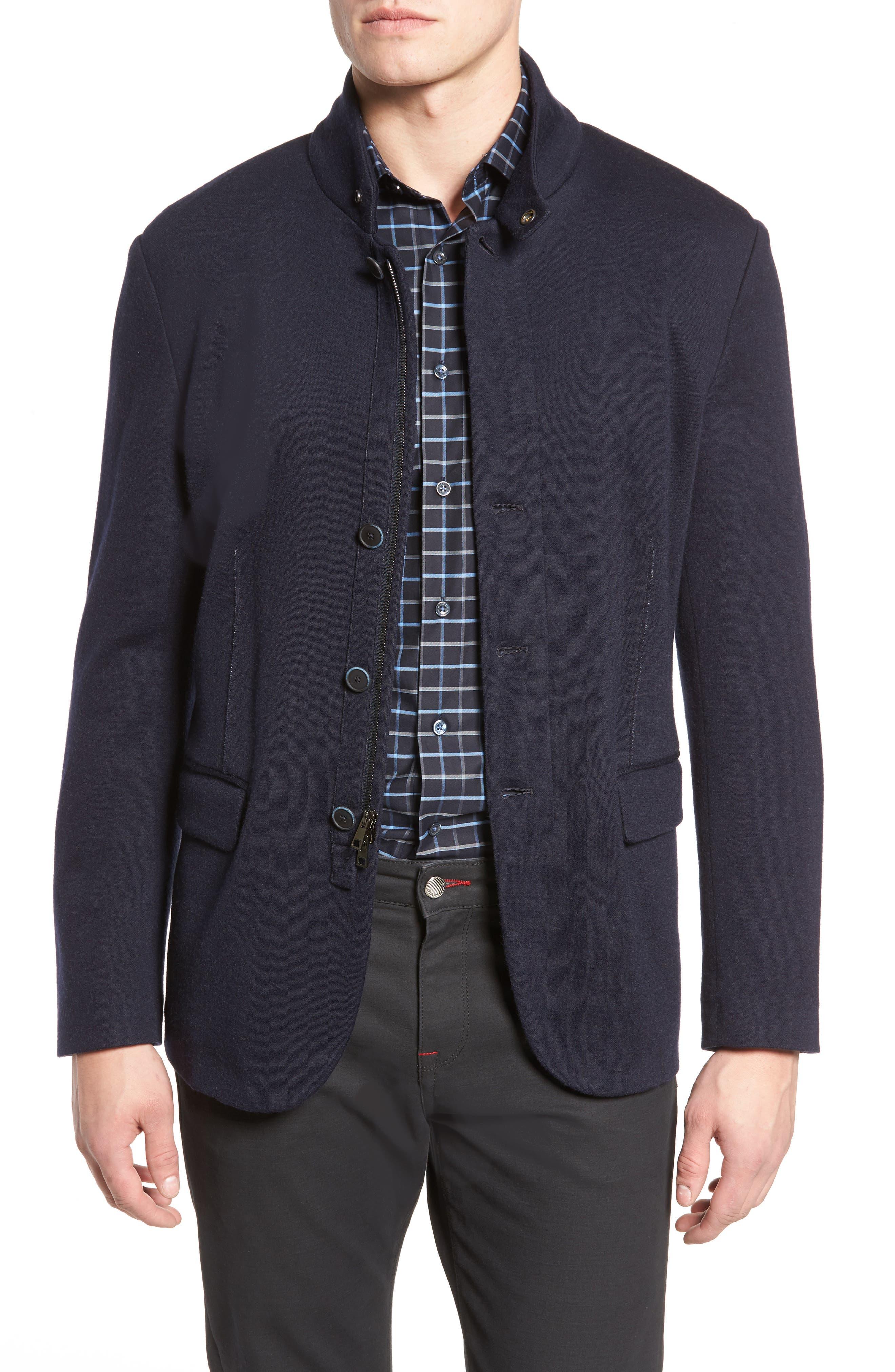 Stand Collar Blazer,                         Main,                         color, Navy