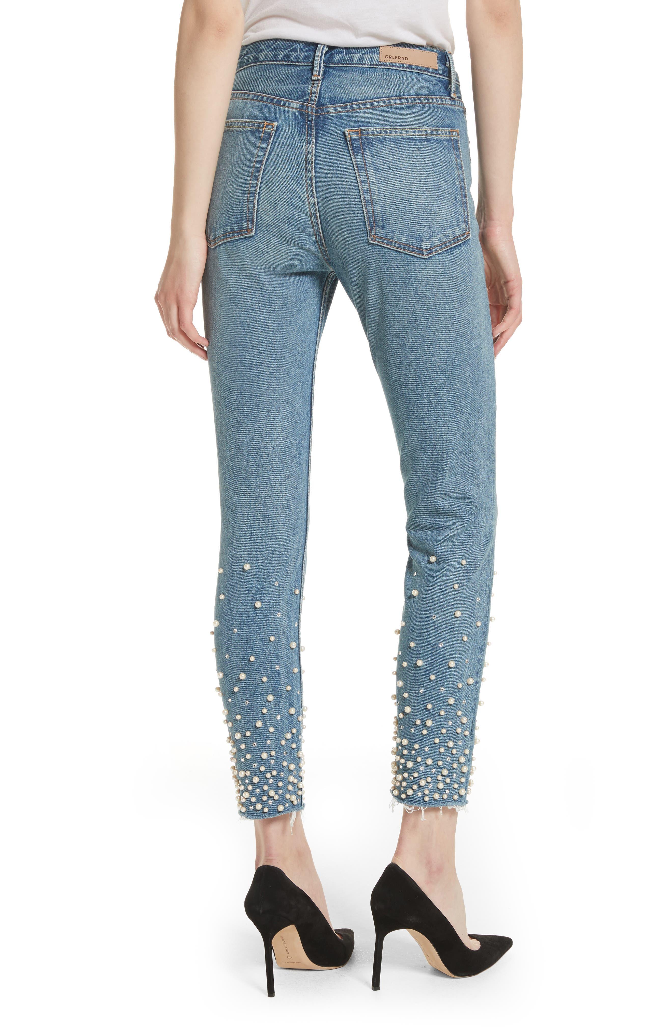 Alternate Image 2  - GRLFRND Karolina Faux Pearl & Crystal Embellished Rigid High Waist Skinny Jeans (Morning Star)