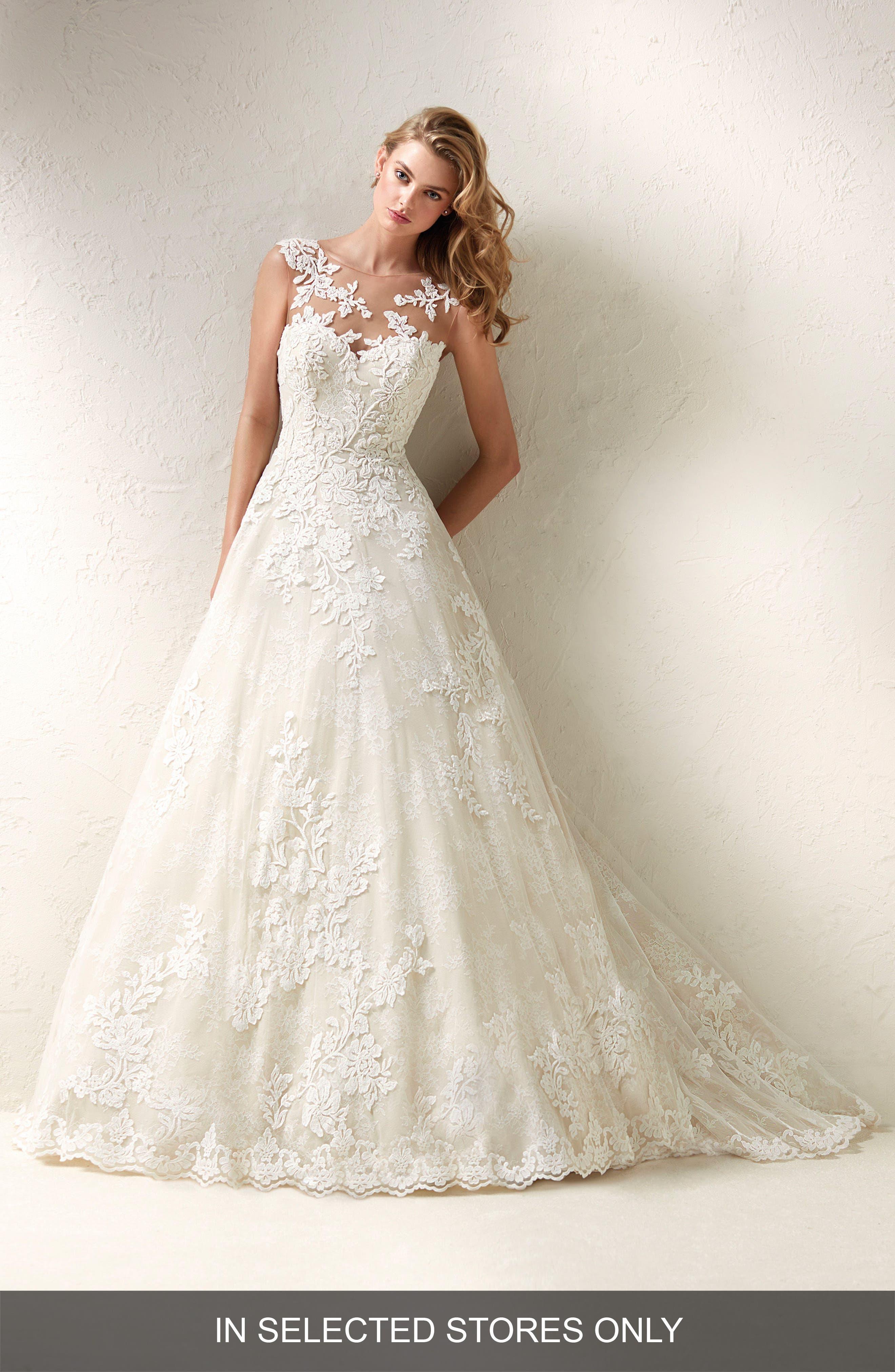 Dracme Illusion Bodice Lace A-Line Gown,                         Main,                         color, Off White