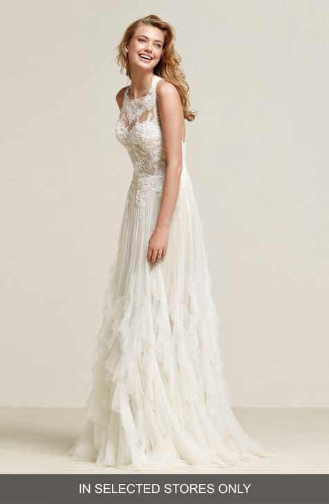092d84bd59 Pronovias Draconia Lace   Pleated Tulle Gown