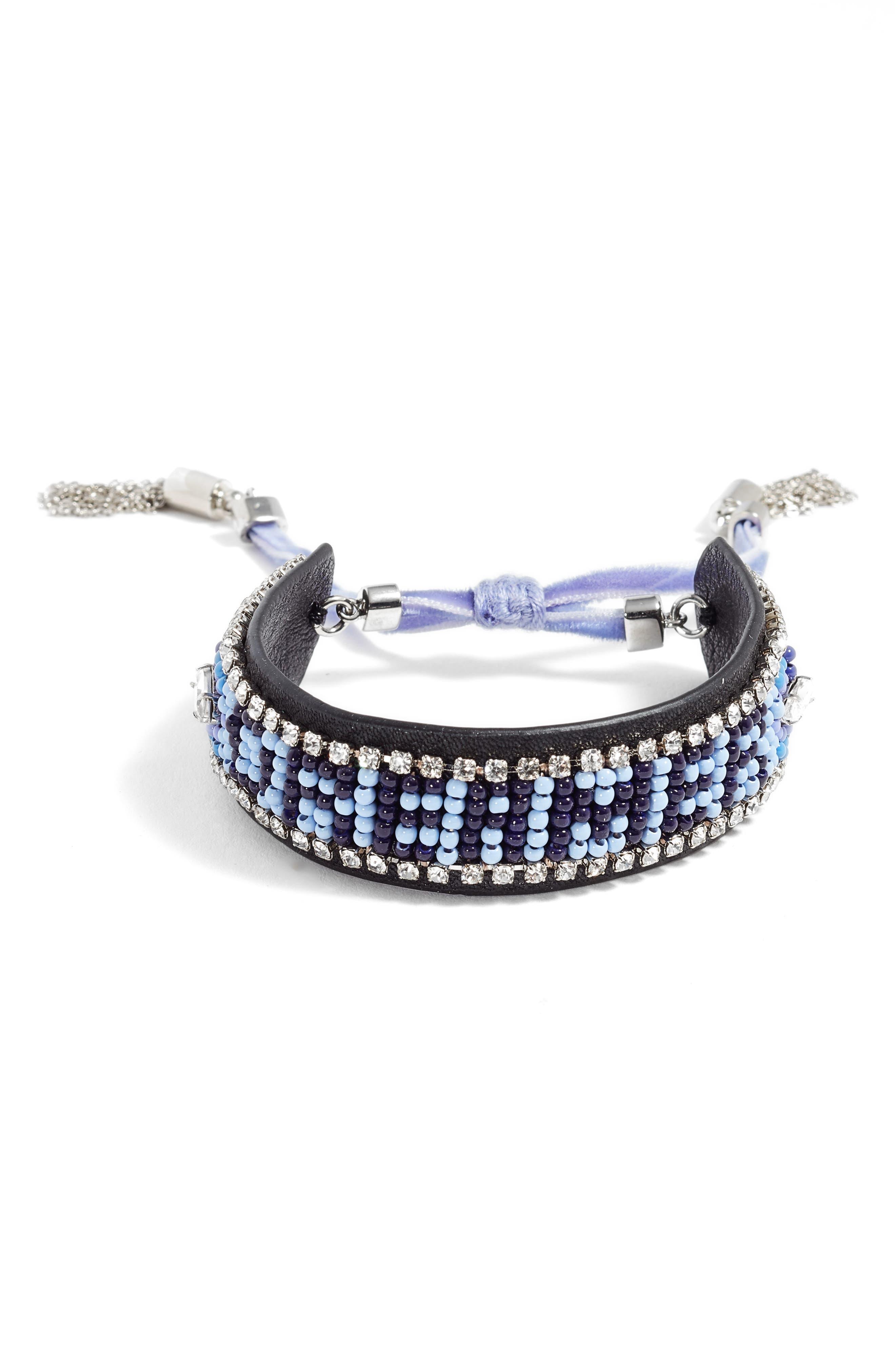 Dreamer Seed Bead Leather Bracelet,                             Main thumbnail 1, color,                             Blue Multi