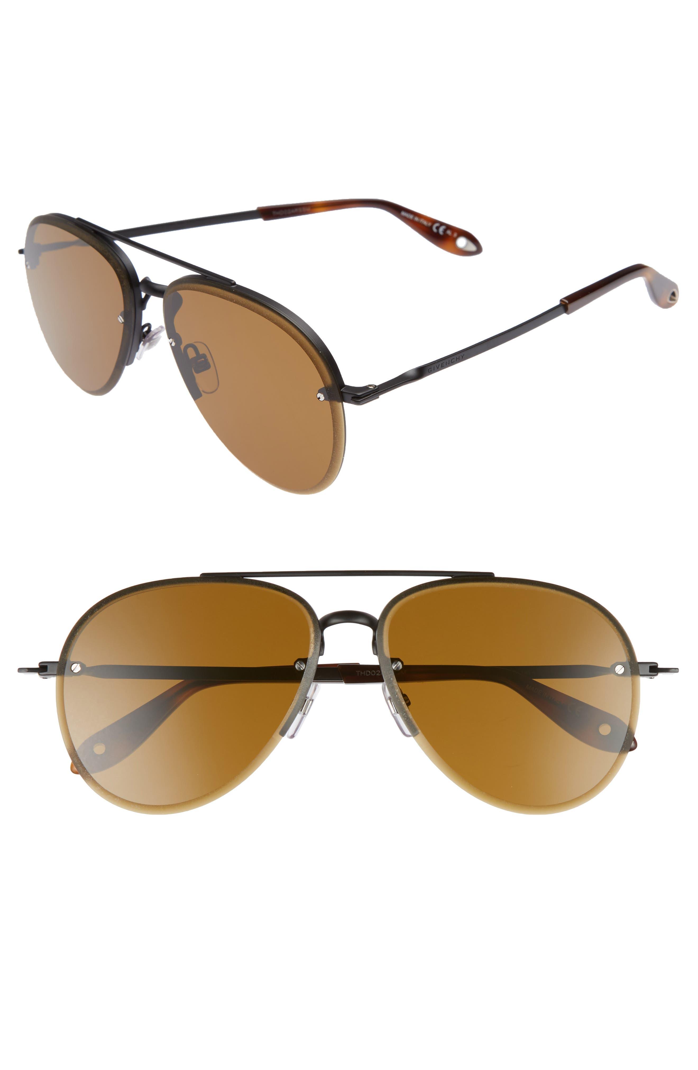 62mm Aviator Sunglasses,                         Main,                         color, Light Gold/ Gray Green