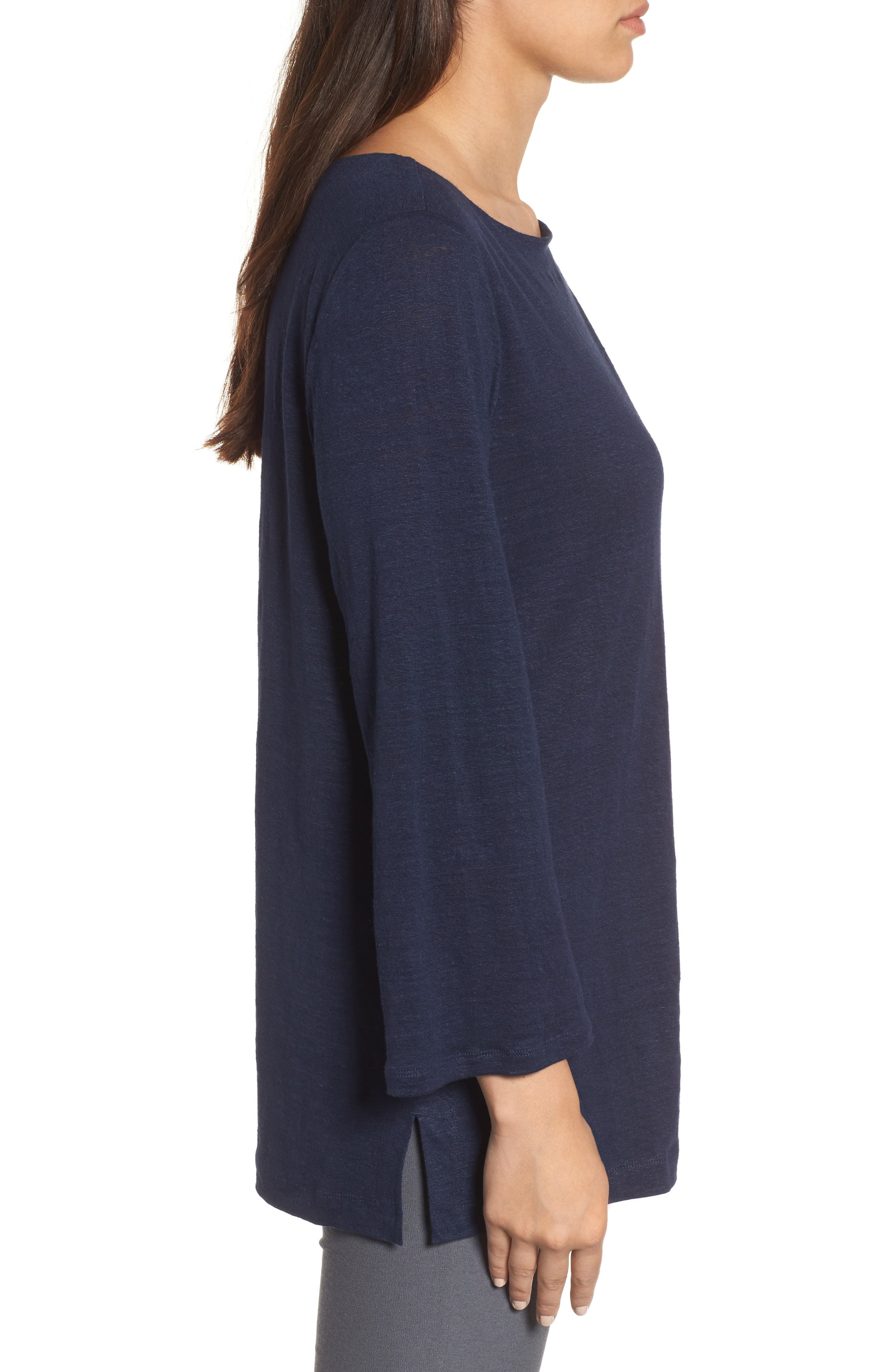 Organic Linen Bateau Neck Top,                             Alternate thumbnail 3, color,                             Midnight