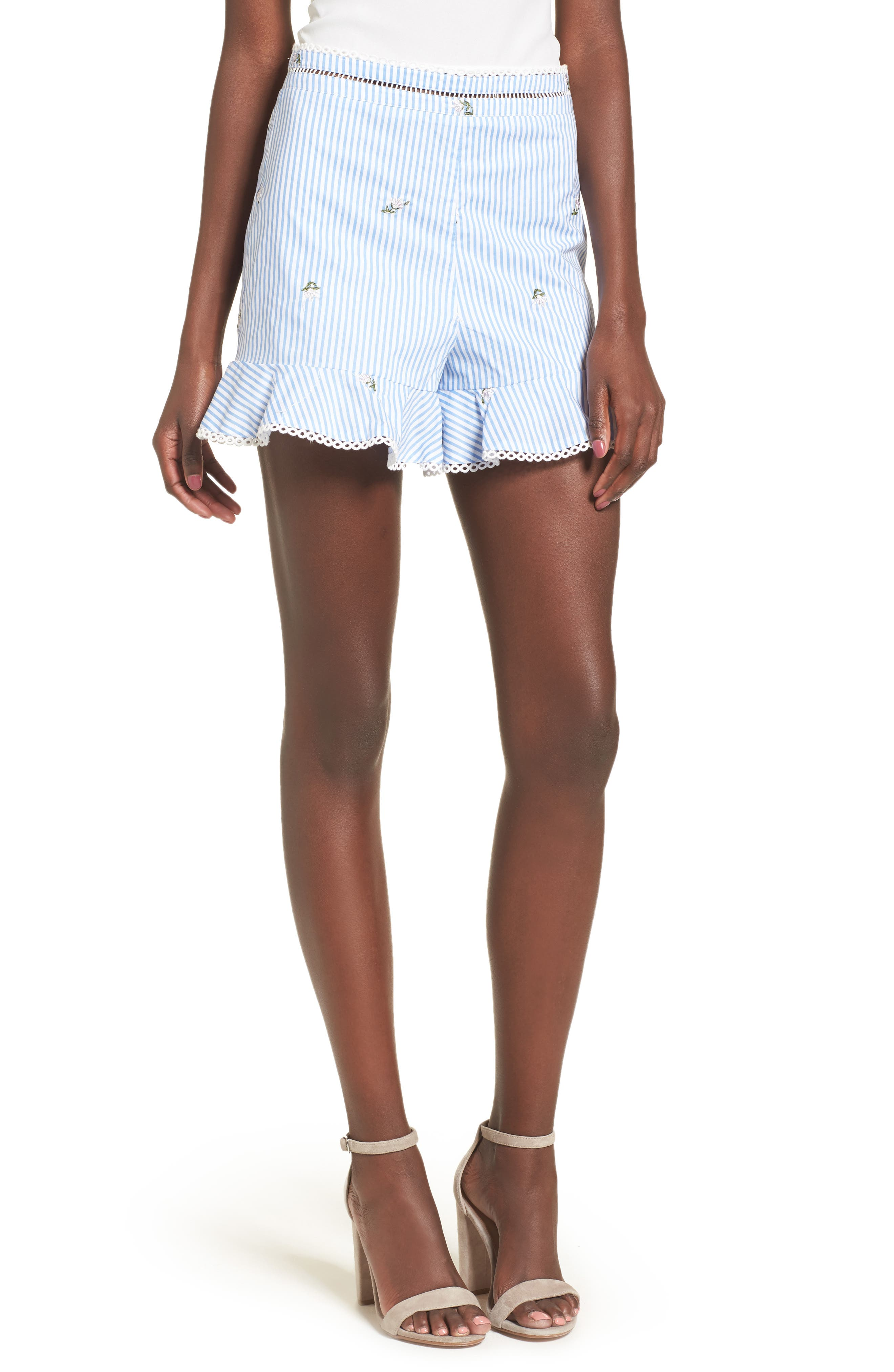 Embroidered Shorts,                             Main thumbnail 1, color,                             Blue/ Ivory Stripe