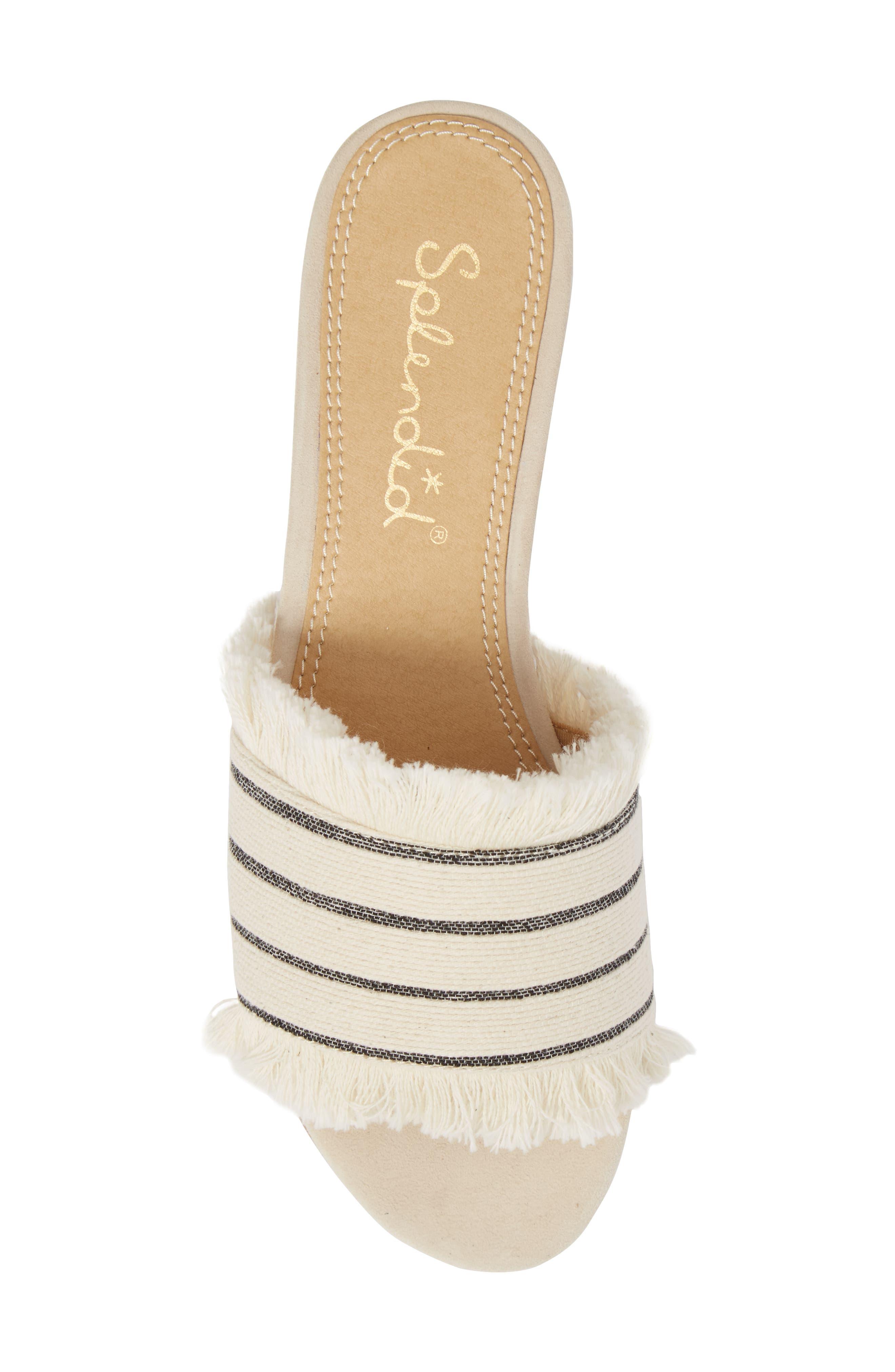 Baldwyn Fringe Slide Sandal,                             Alternate thumbnail 5, color,                             Cream Leather