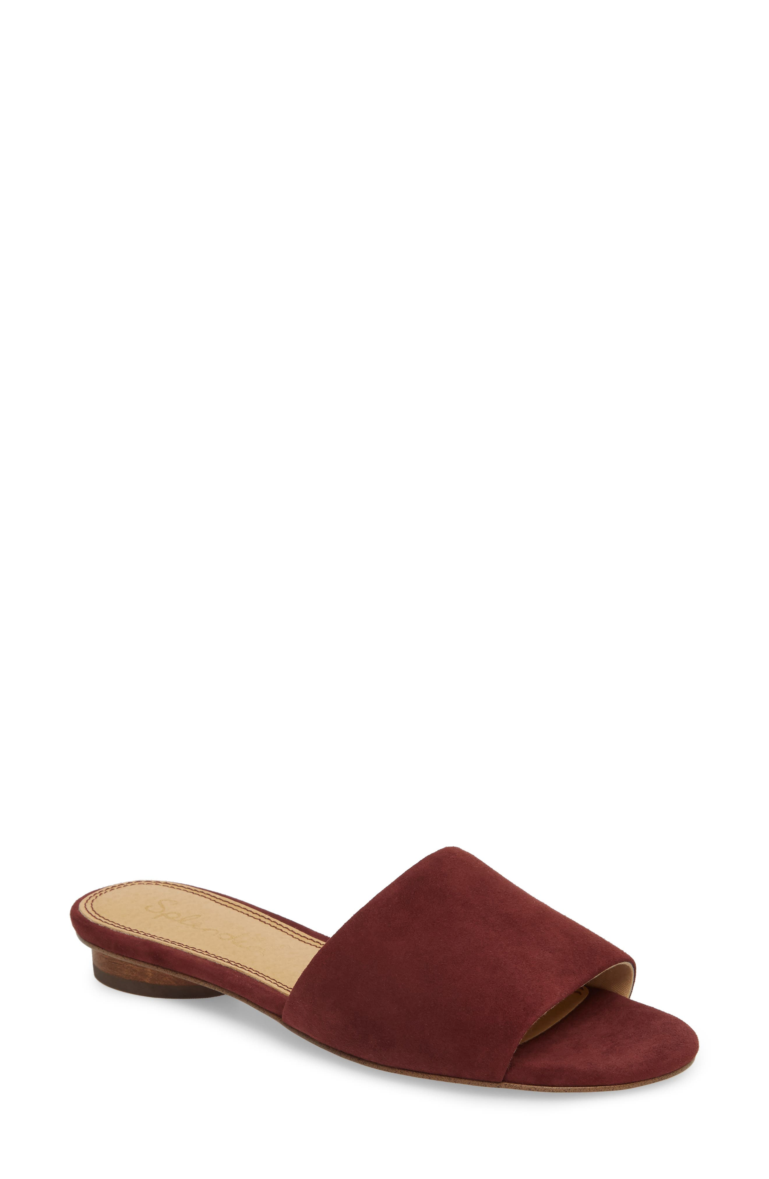 Betsy Slide Sandal,                             Main thumbnail 1, color,                             Wine Suede