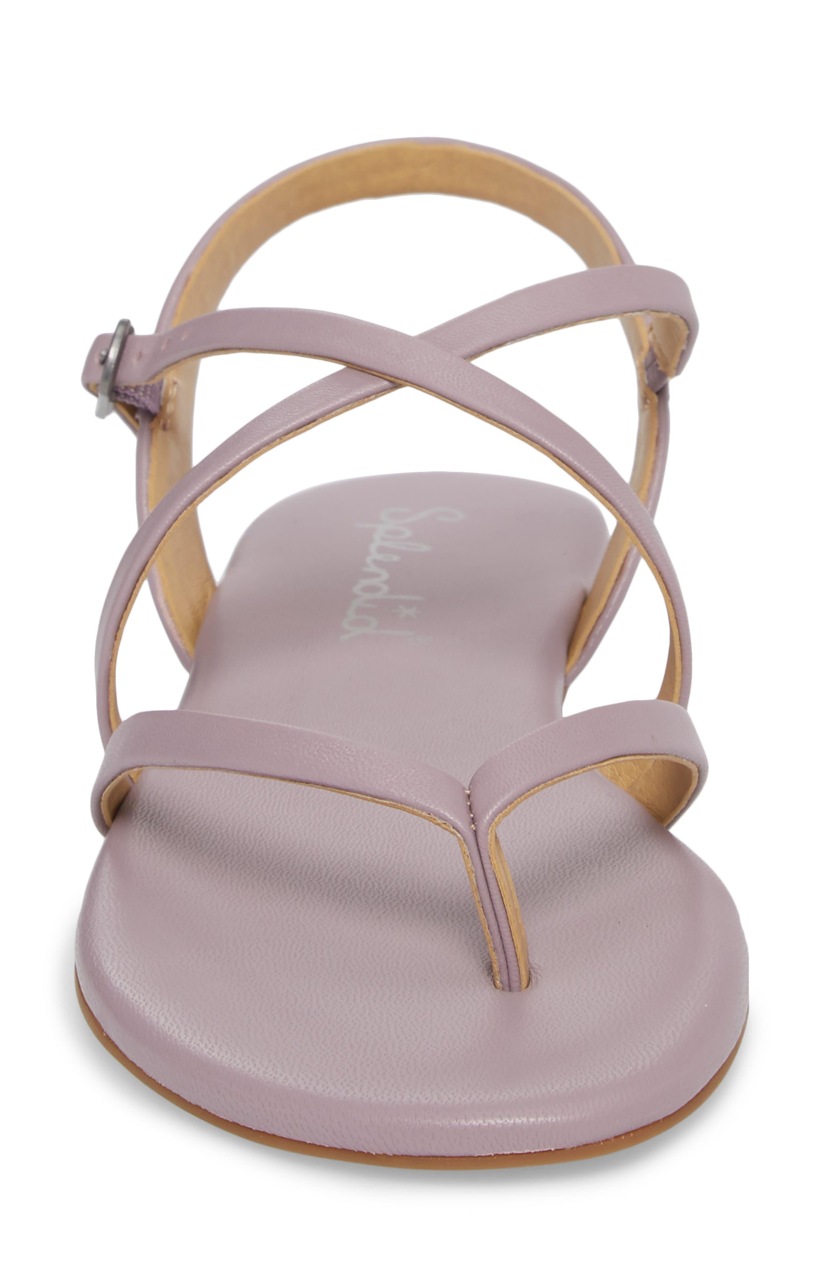 Brett Strappy Flat Sandal,                             Alternate thumbnail 4, color,                             Wisteria Leather