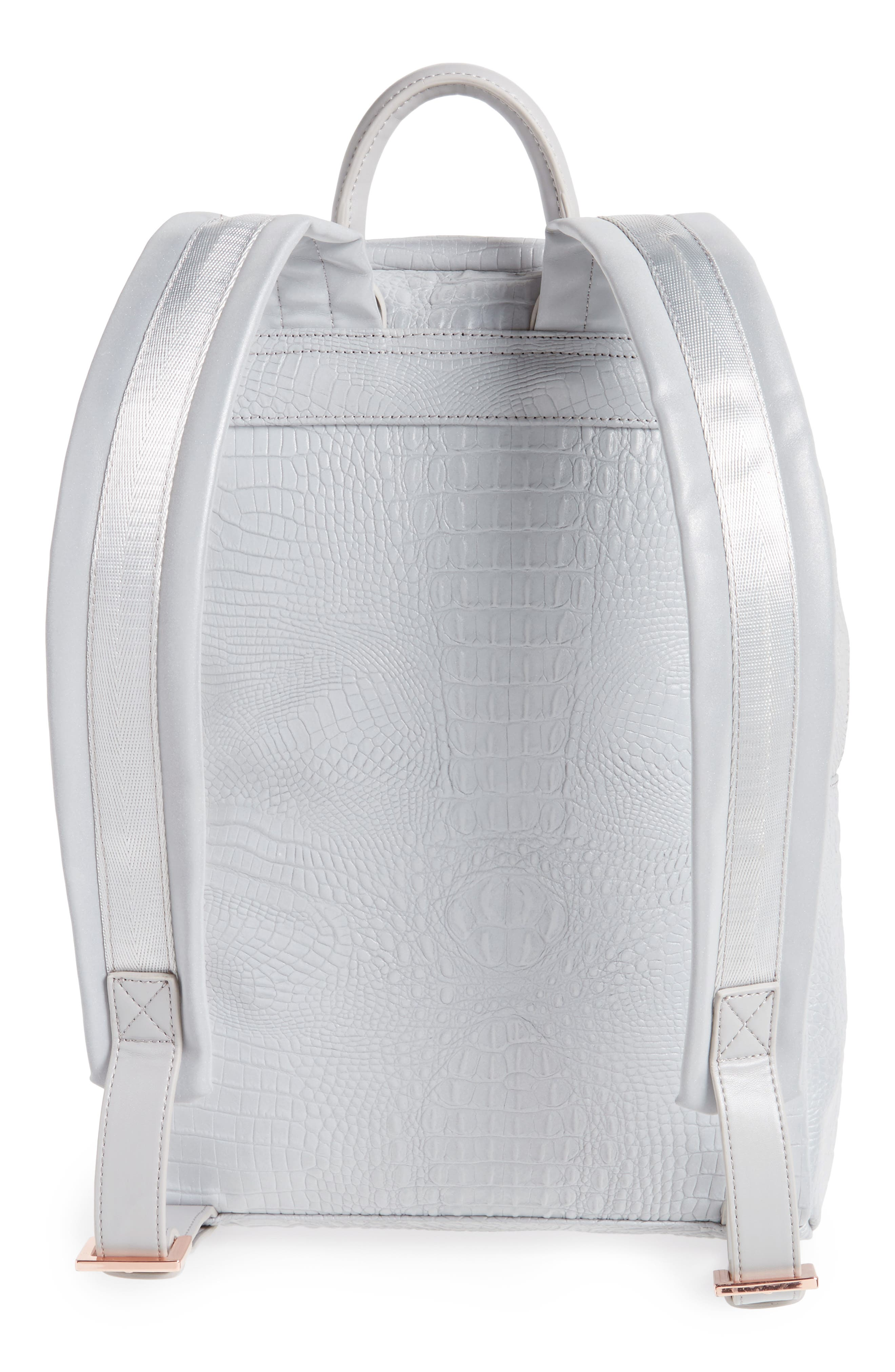 Alternate Image 3  - Ted Baker London Rahri Reflective Croc Embossed Faux Leather Backpack