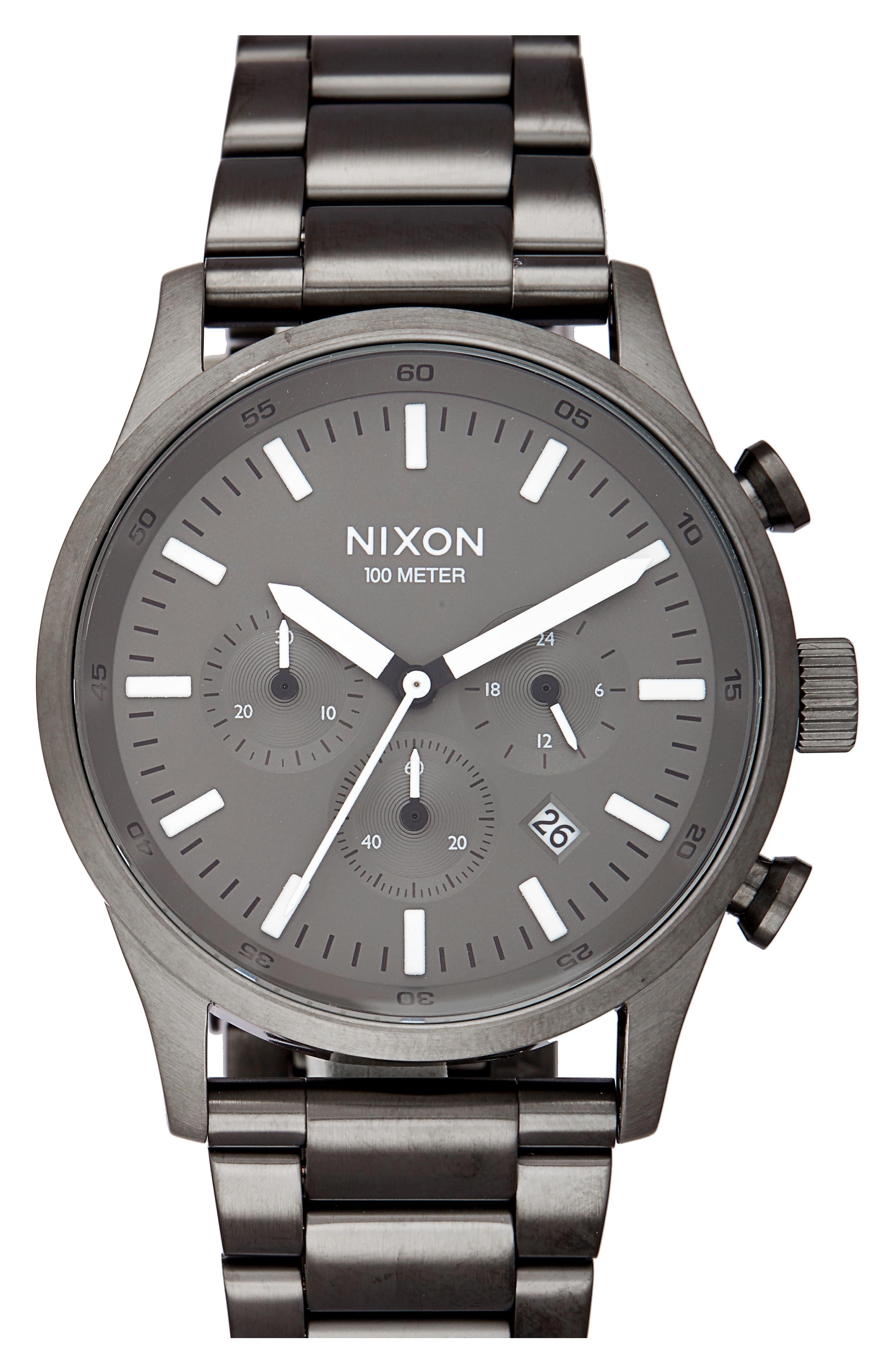 Freemont Chronograph Bracelet Watch, 42mm,                             Main thumbnail 1, color,                             Gunmetal