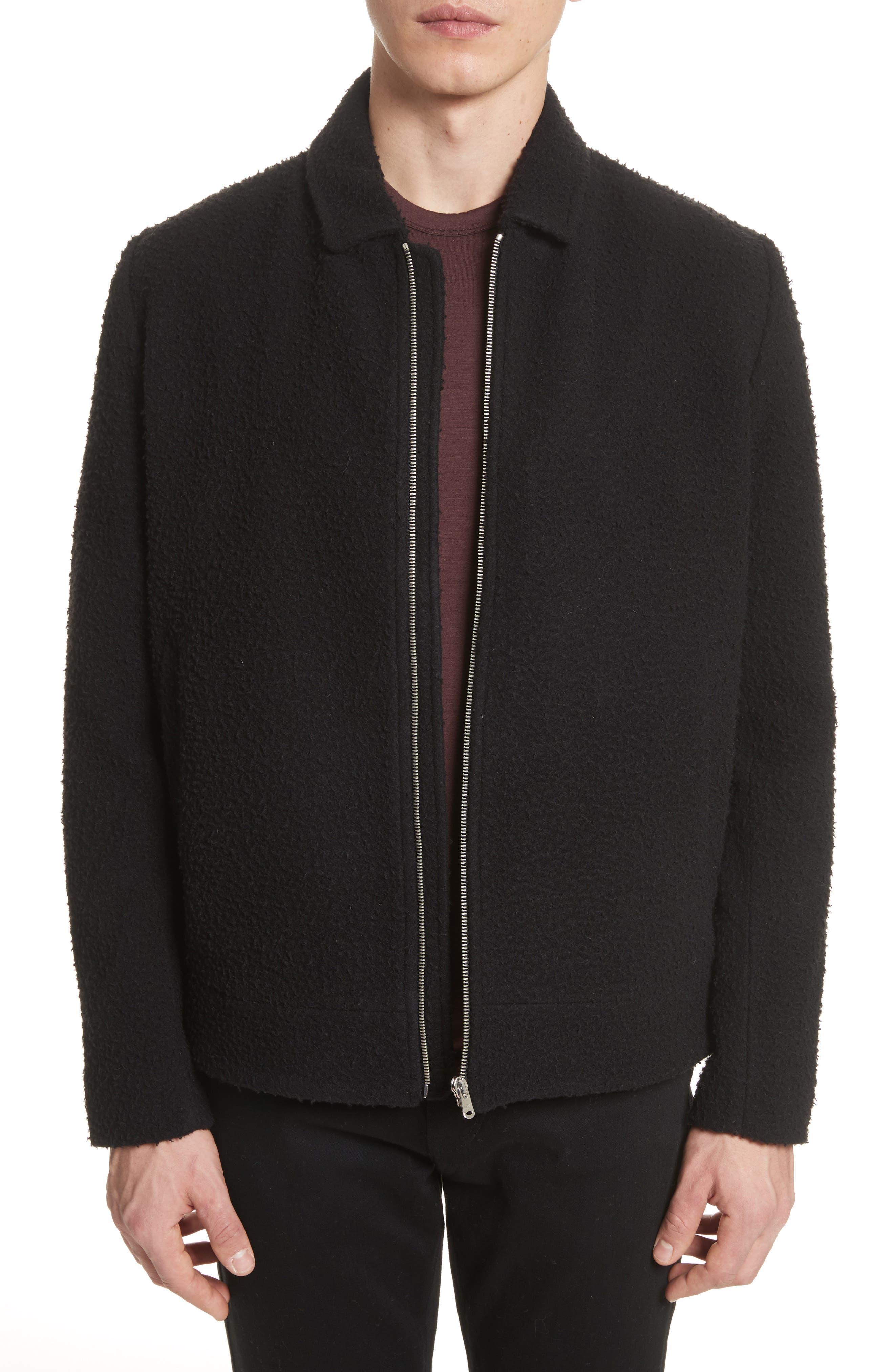 Elliott Boiled Wool Blend Jacket,                             Main thumbnail 1, color,                             Black