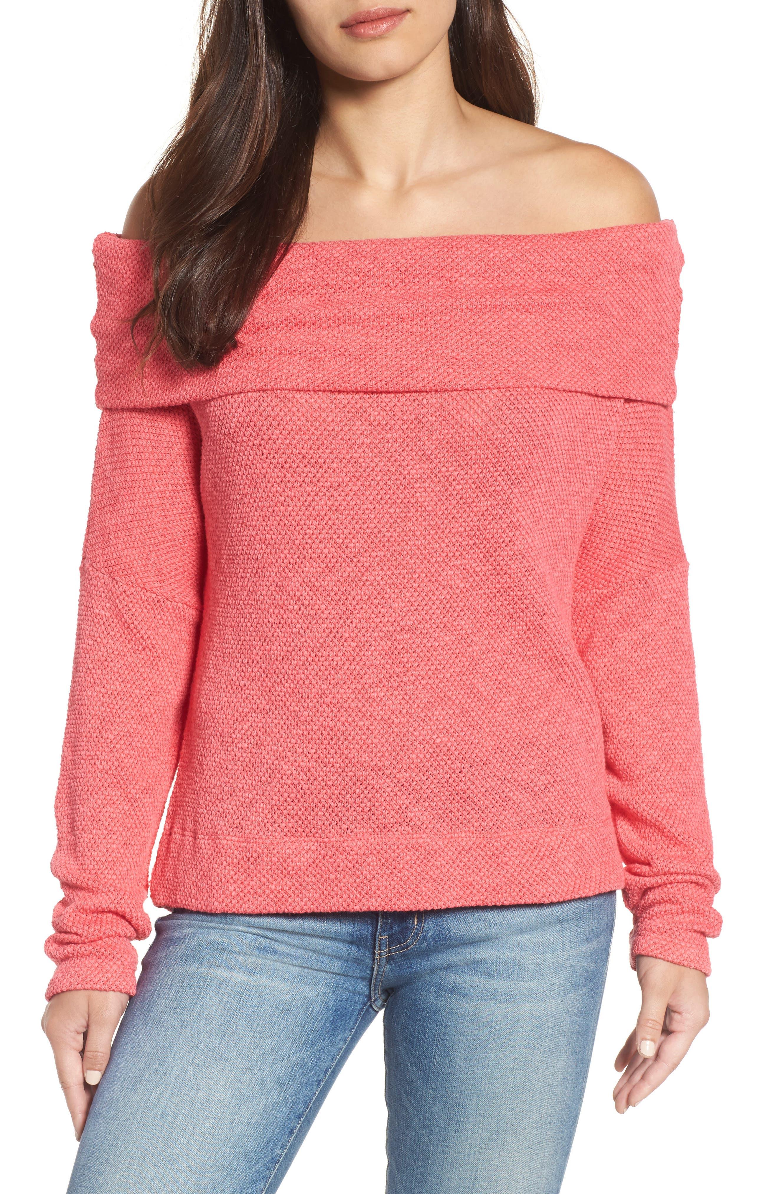 Convertible Neck Knit Pullover,                             Main thumbnail 1, color,                             Pink Ribbon