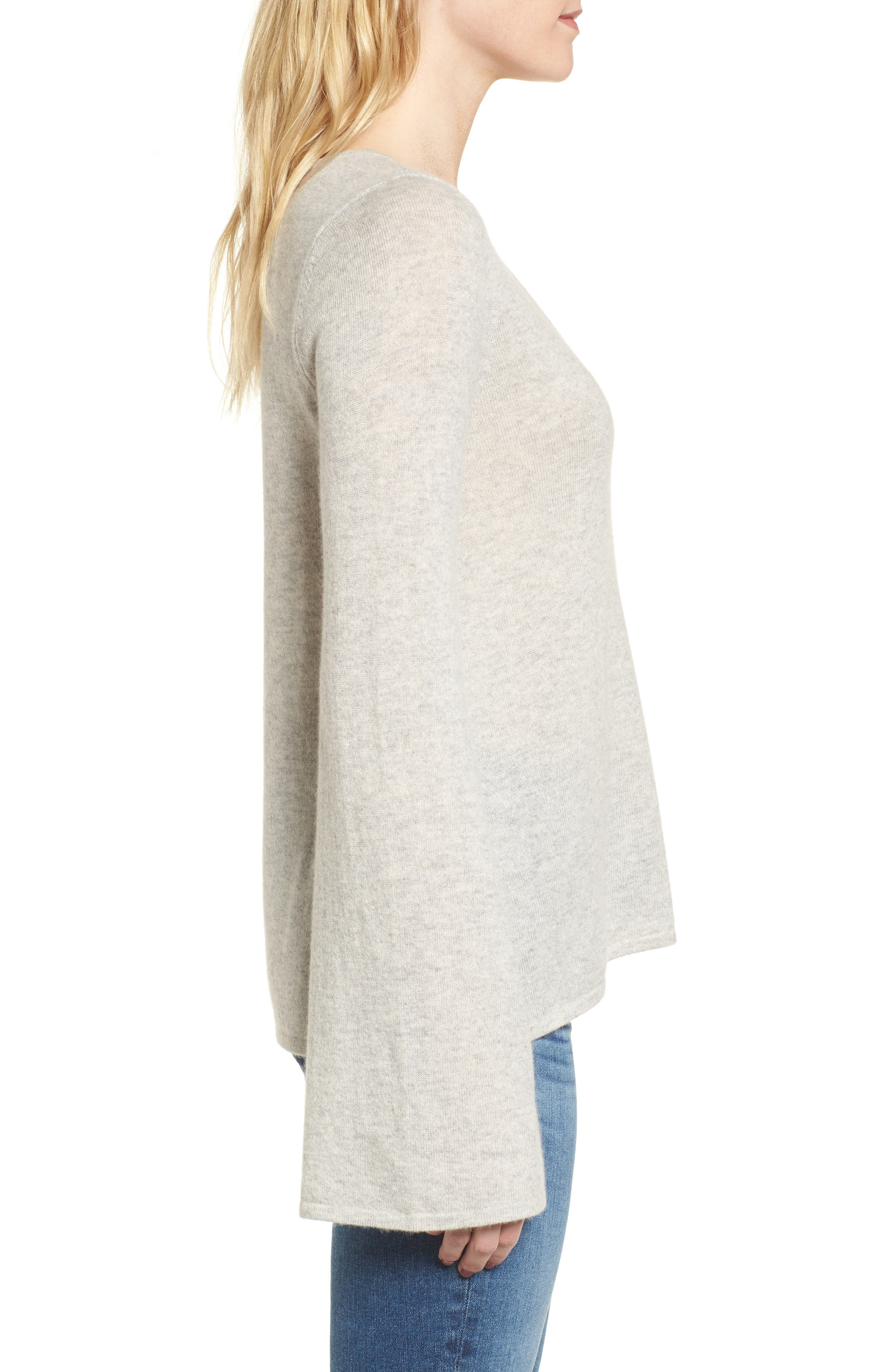 Marylee Cashmere Top,                             Alternate thumbnail 3, color,                             Light Heather Grey