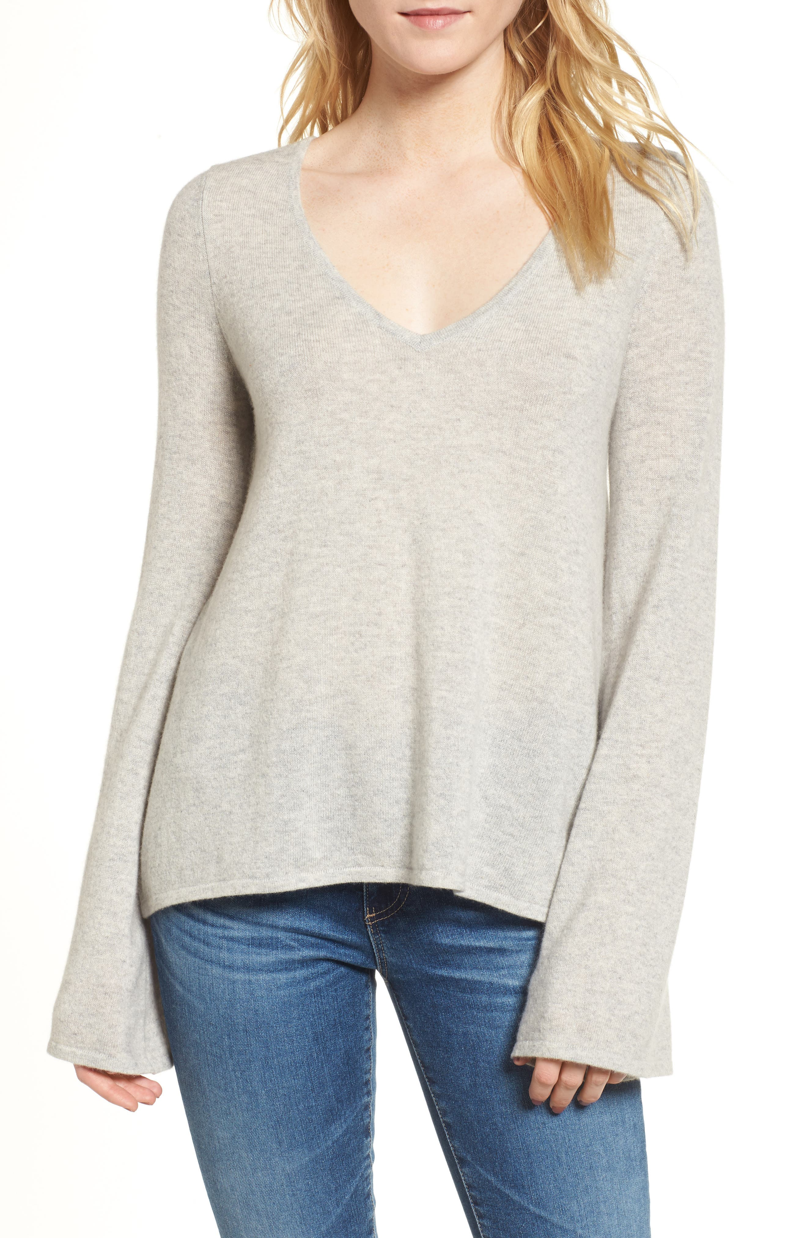 Marylee Cashmere Top,                             Main thumbnail 1, color,                             Light Heather Grey