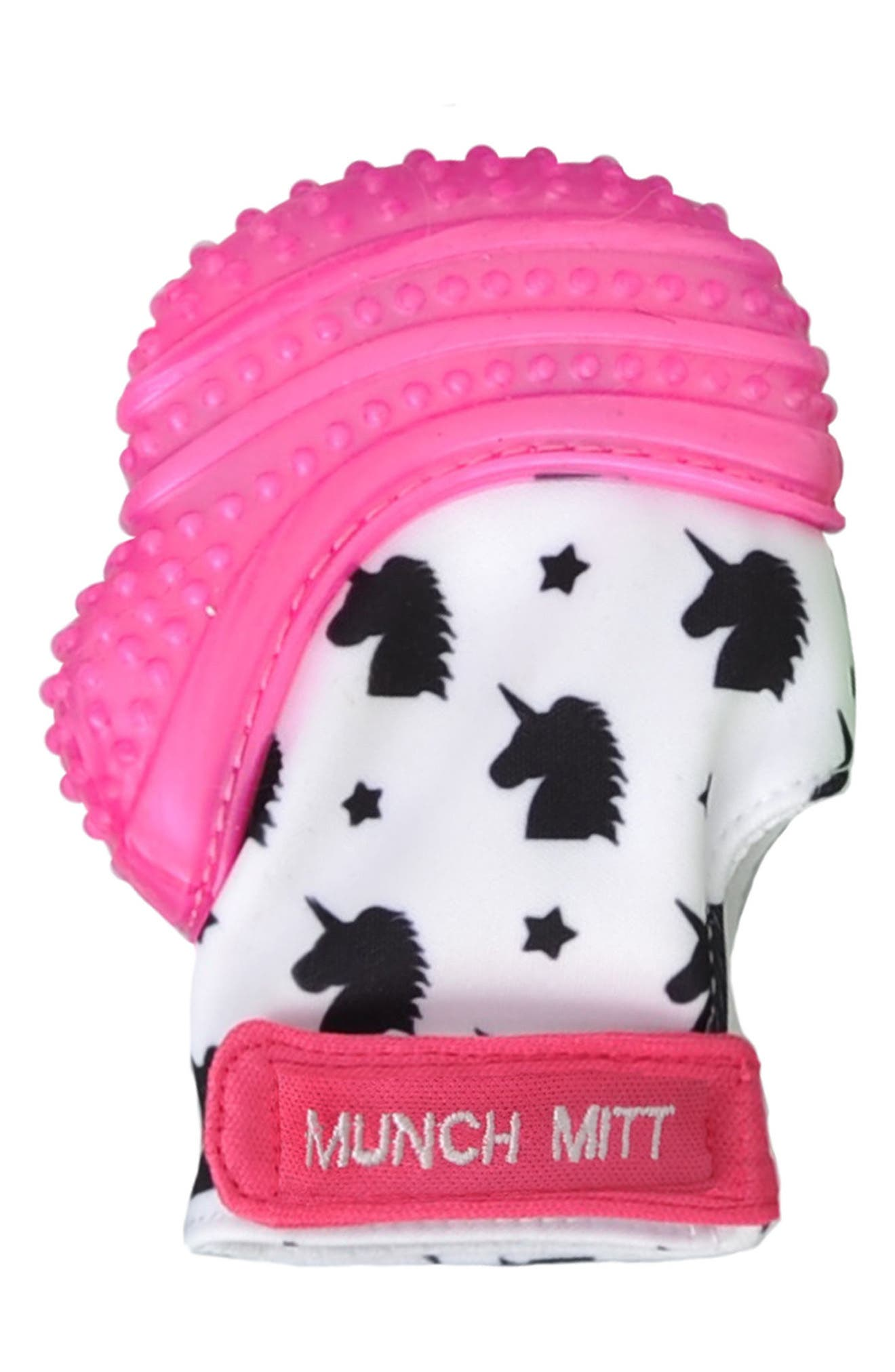 Unicorn Print Teething Mitt,                             Main thumbnail 1, color,                             Pink